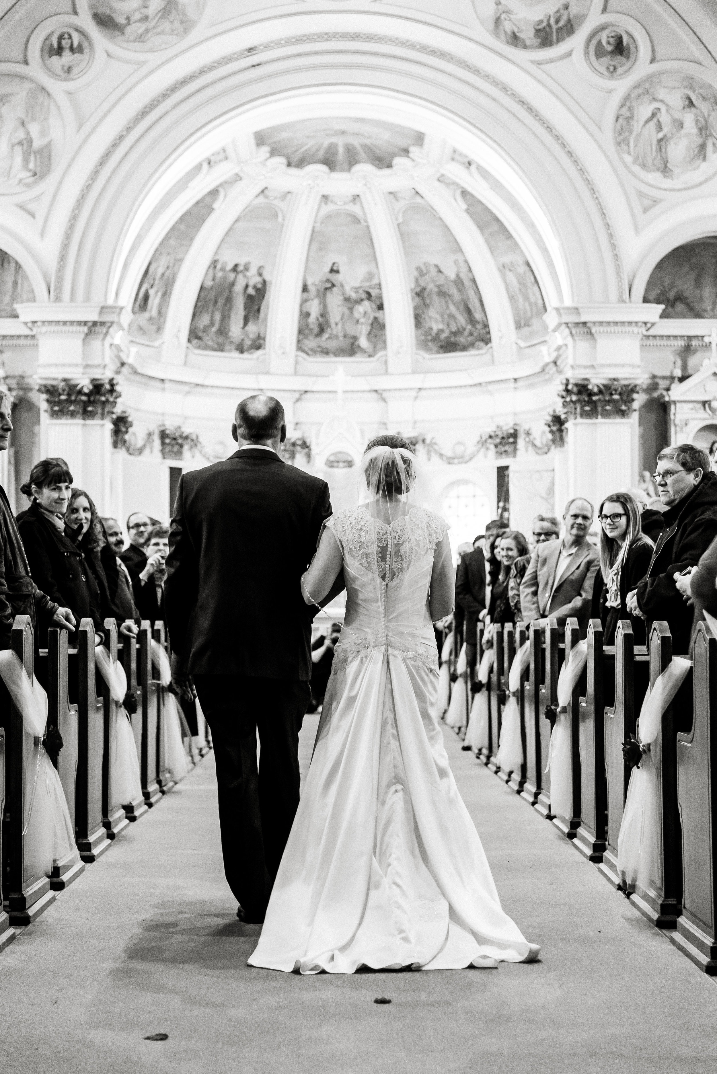 Bride and Father Processional - Walking down the Aisle at St. Peter's Catholic Church - Delano, MN Wedding Photographer