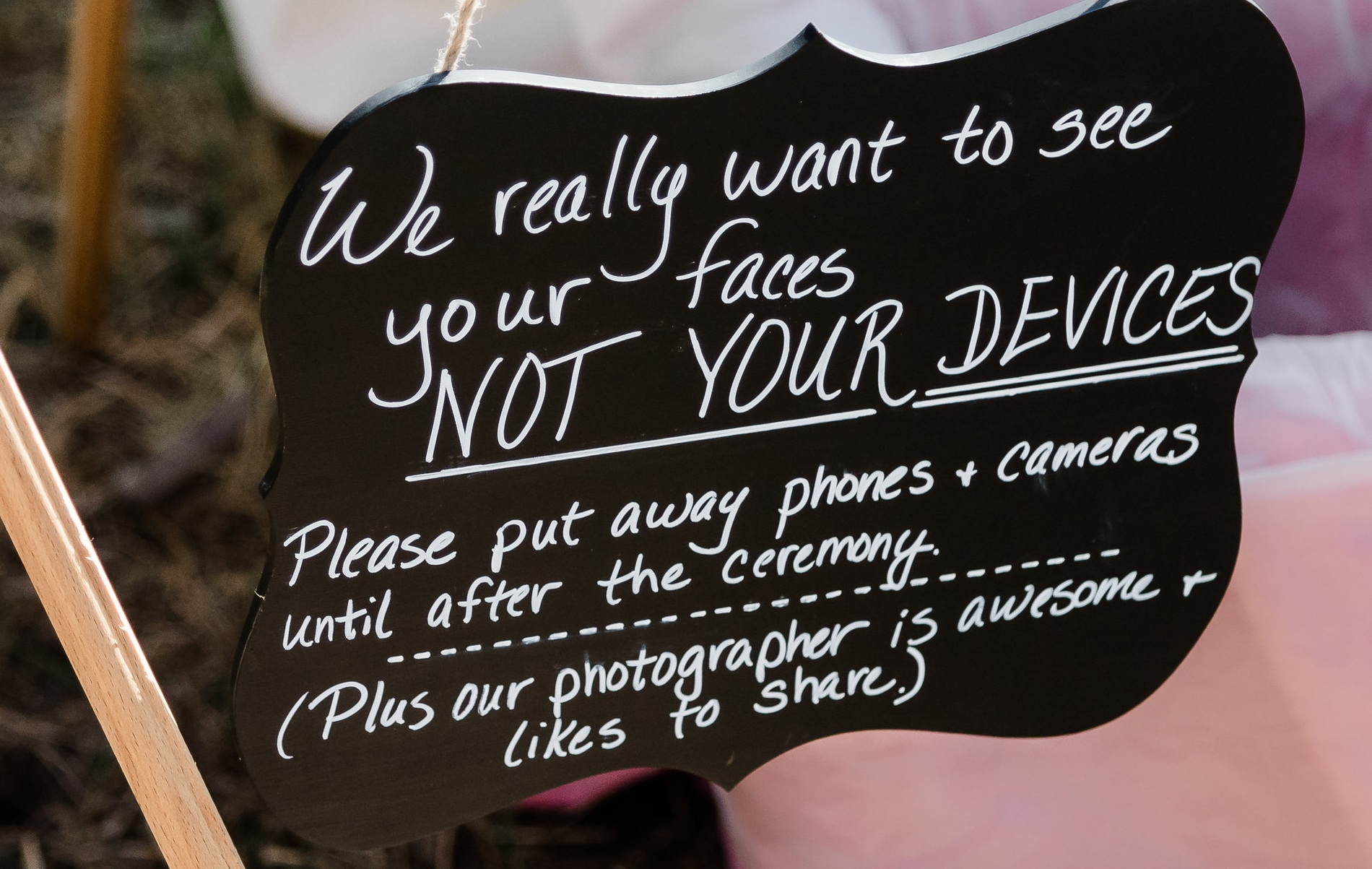 Unplugged wedding no guest cameras at ceremony sign idea
