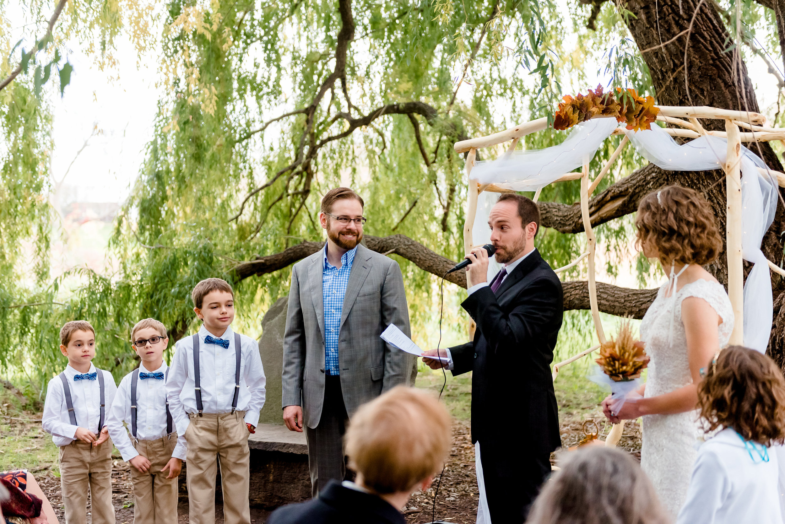 Weeping Willow Trees Ceremony Site at MN Landscape Arboretum - MN Wedding Photographer