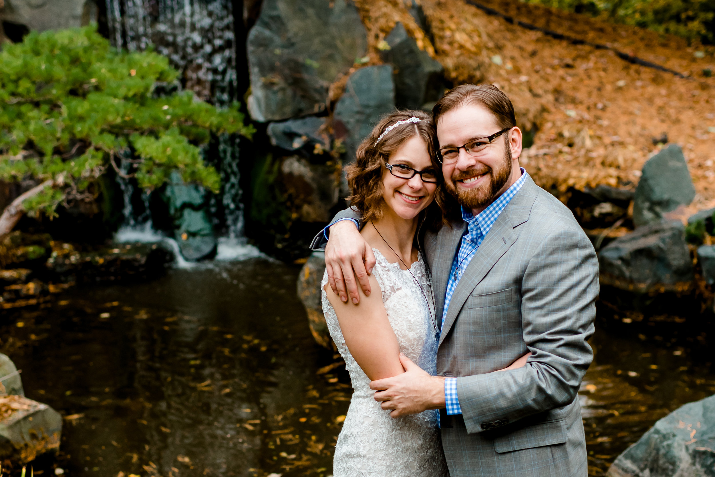 MN Landscape Arboretum Wedding - Japanese Gardens Waterfall Bride Groom - Chanhassen MN Wedding Photographer