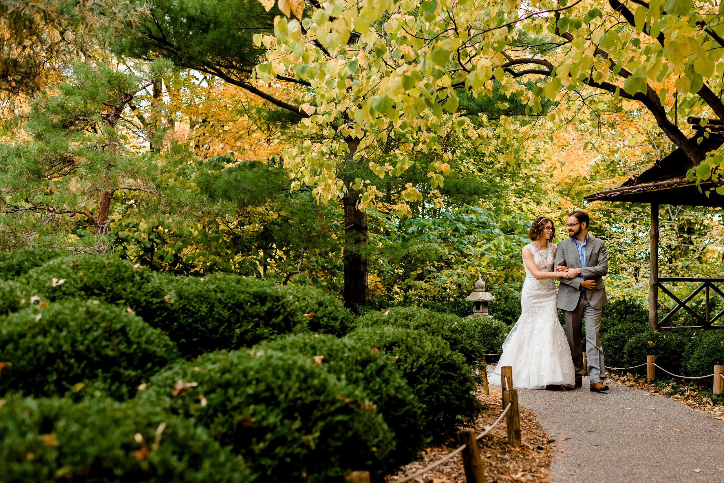 Minnesota Landscape Arboretum Wedding - Japanese Gardens Fall Autumn Portraits - Chaska, MN Wedding Photographer