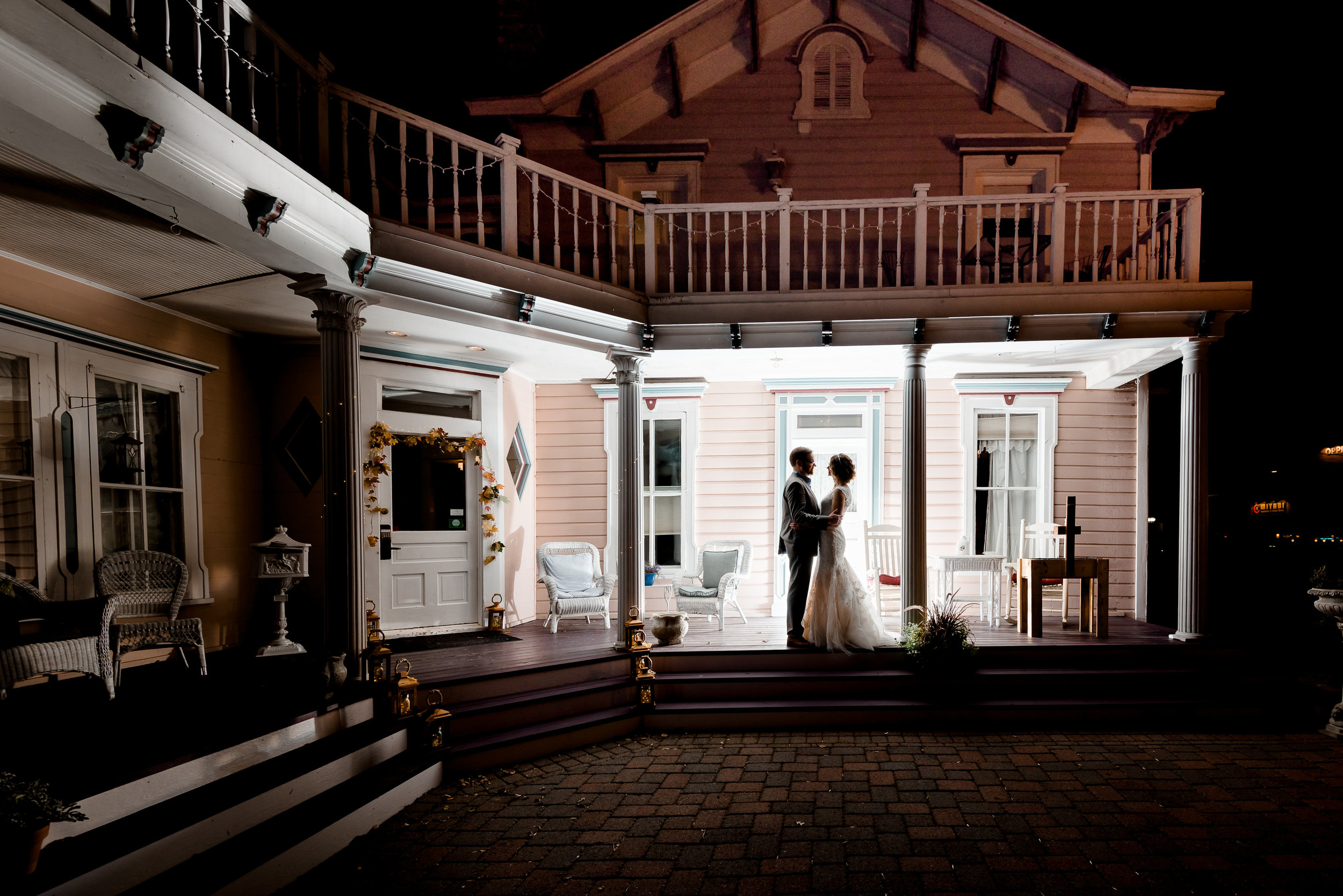 Bird House Inn at Night with Bride and Groom Intimate Wedding Reception - Silhouette - Excelsior MN Wedding Photographer