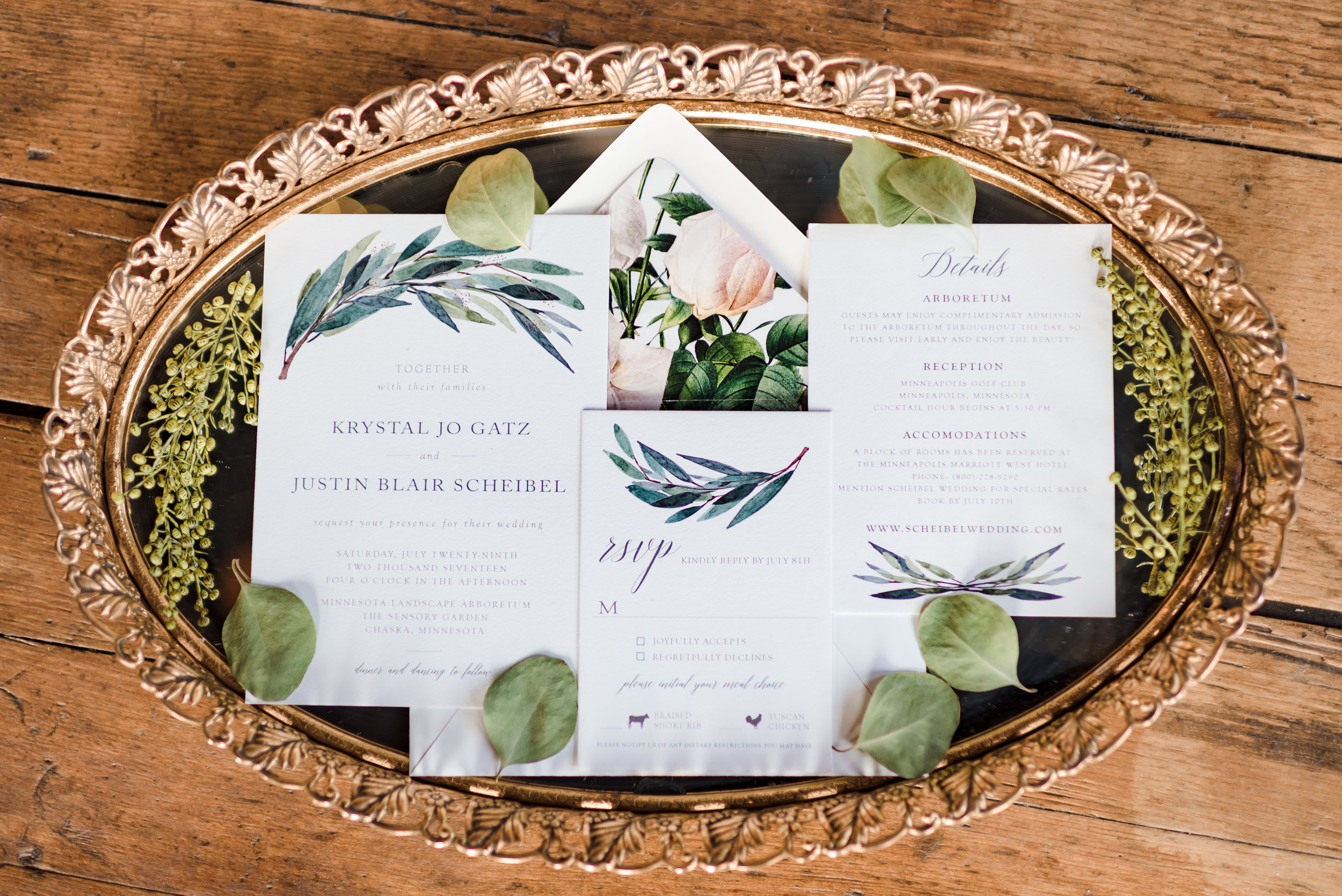 Custom Floral Wedding Invitation Suite - Twin Cities Wedding Photographer