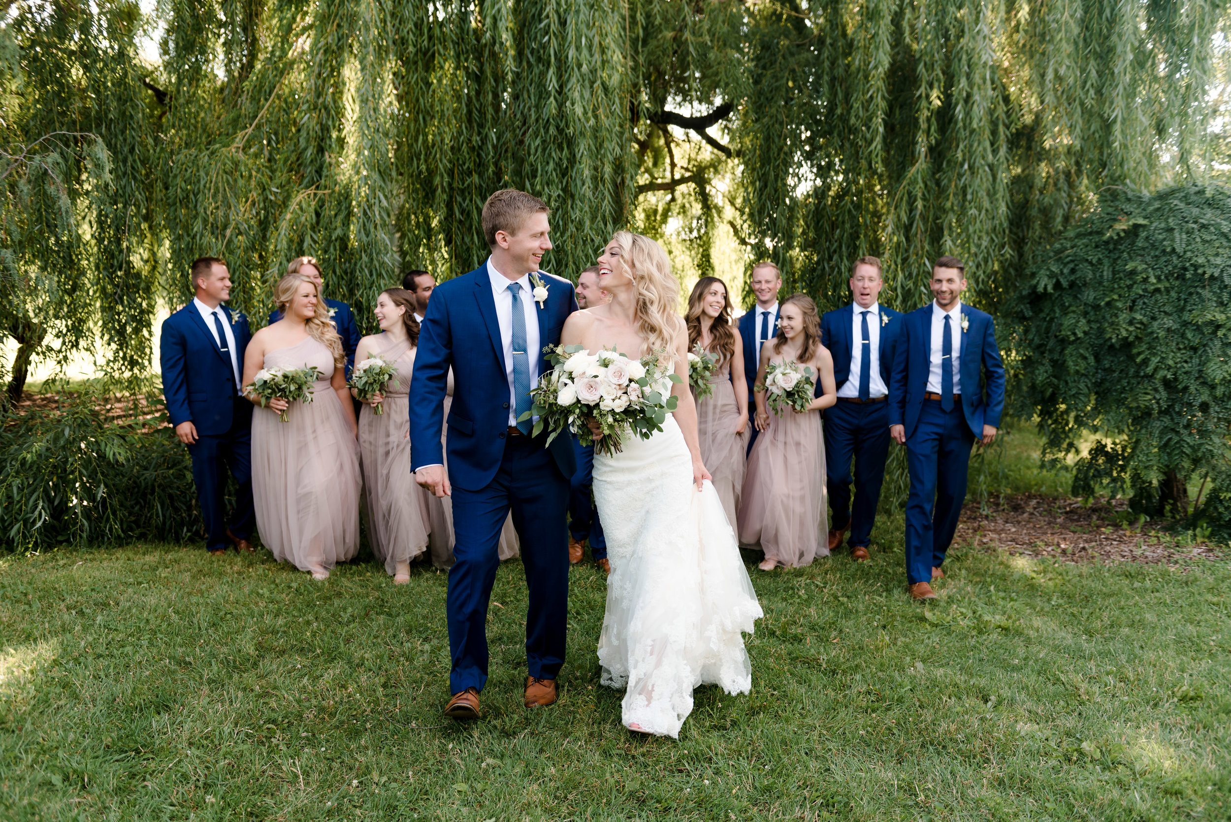 Bridal Party at Weeping Willow Trees MN Landscape Arboretum -  Twin Cities Wedding Photographer