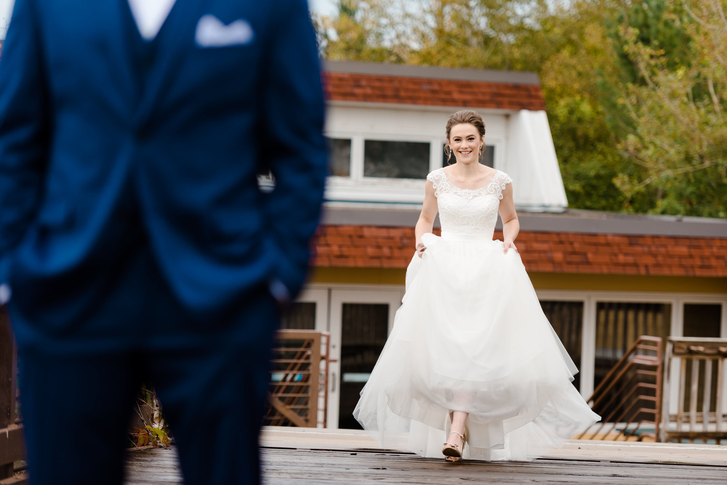 First Look Bride and Groom at Elm Creek Chalet Wedding