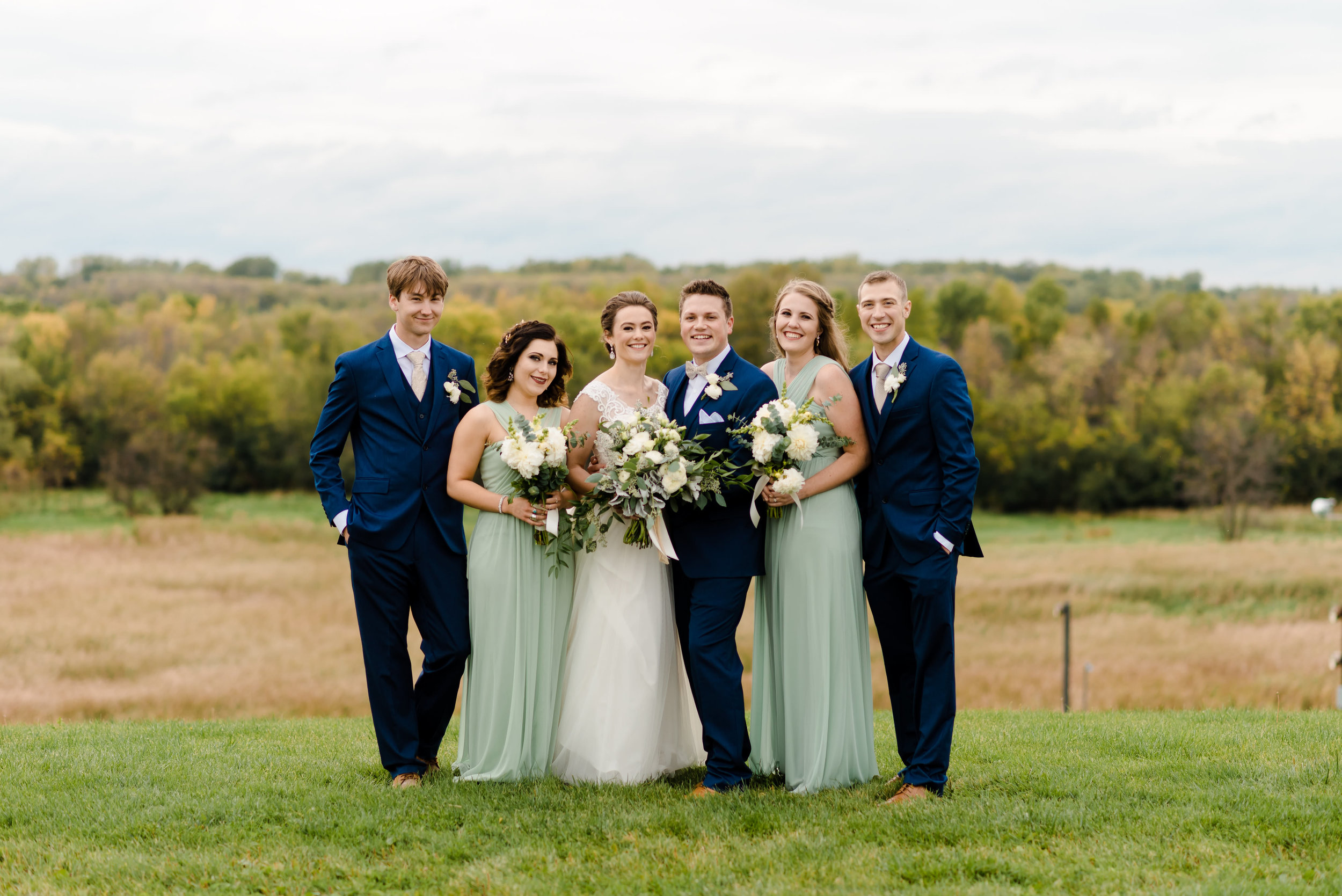 Mint and Navy Bridal Party Wedding Colors - Elm Creek Chalet Wedding Photos