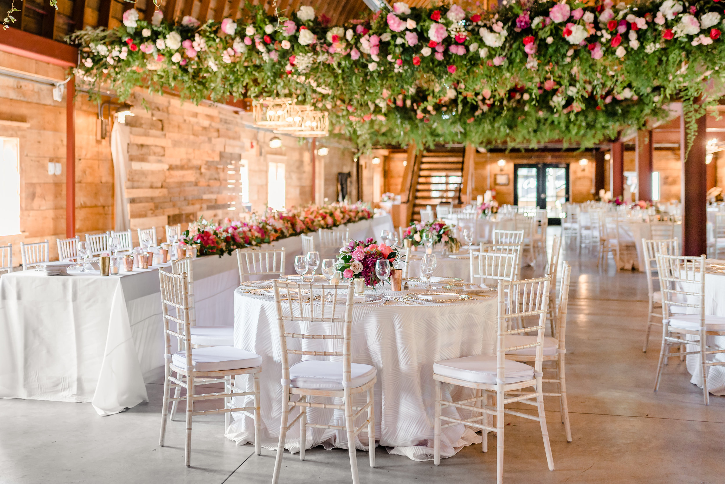 Luxury Barn Wedding at Historic John P Furber Farm Wedding Reception Decor - Munster Rose - See Jane Plan - Best MN Wedding Photographers