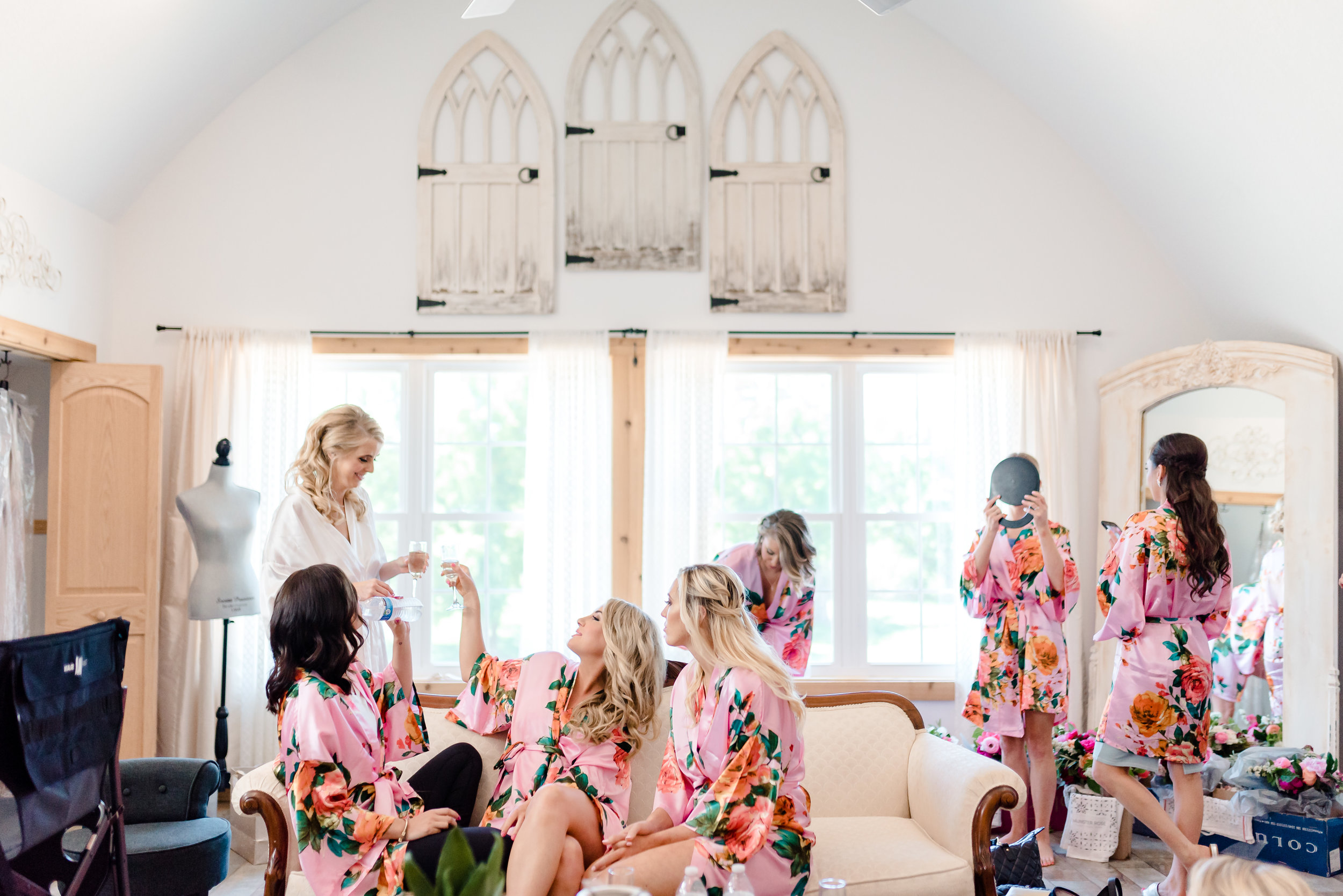 Bridal Suite at John P Furber Farm Wedding - Bride and Bridesmaids - MN Wedding Photographer