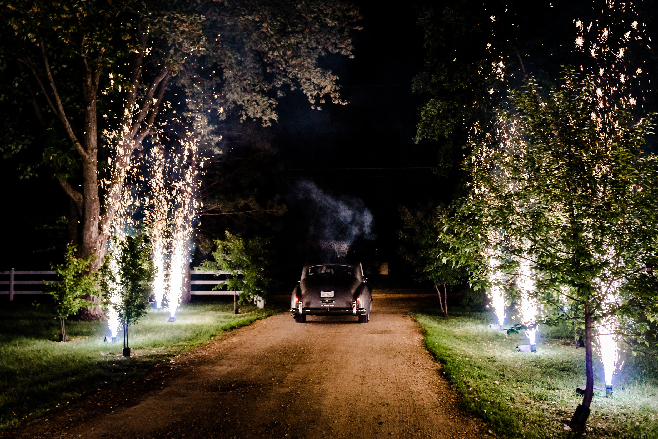 Fireworks Exit at Historic John P Furber Farm Wedding - Cottage Grove, MN Wedding Photography