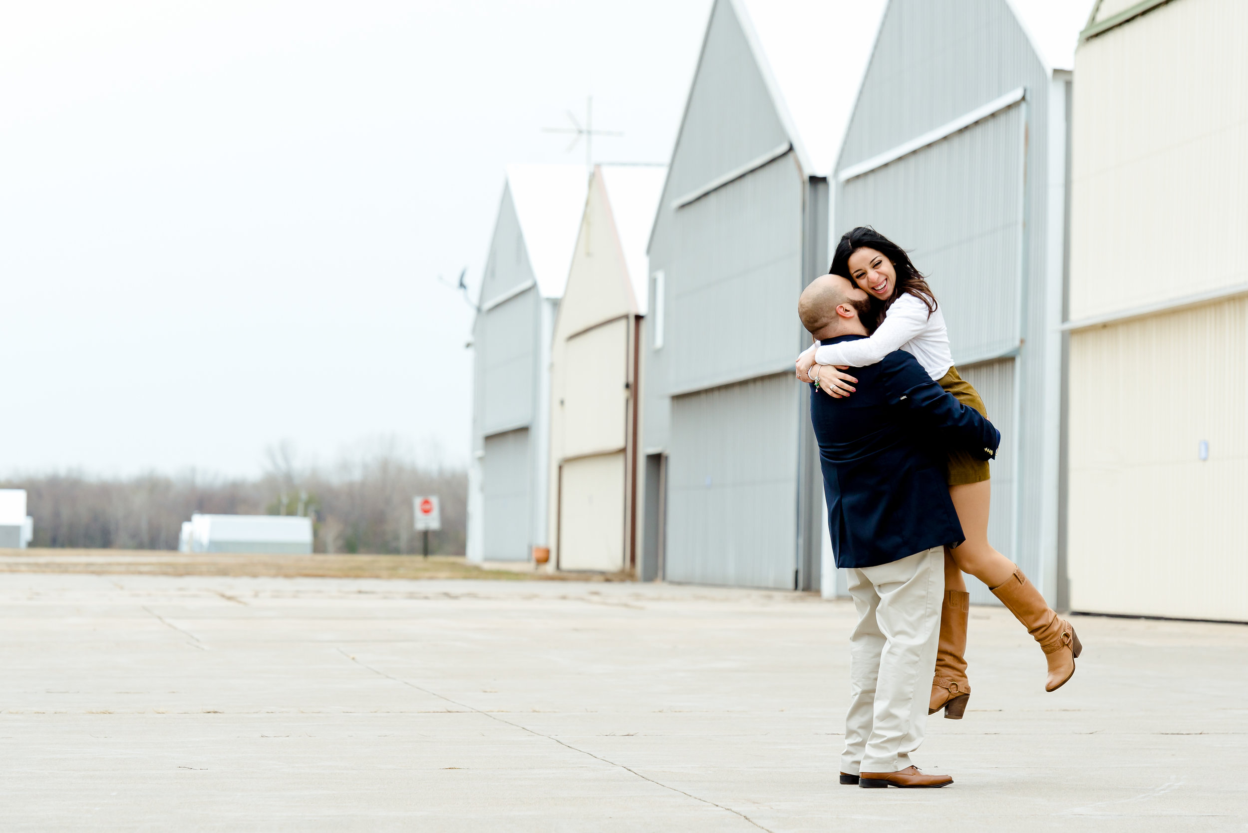 Unique Engagement Photos in MN - Blaine Airport at Minnesota Helicopters - Twin Cities Proposal Photographer