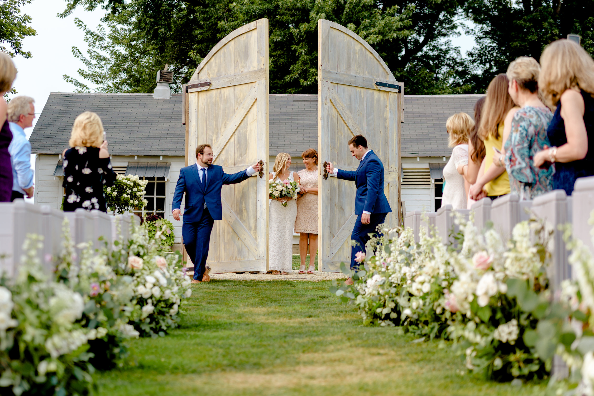Wedding Ceremony at Legacy Hill Farm with Rustic Ceremony Doors - Luxury Wedding Photographer MN