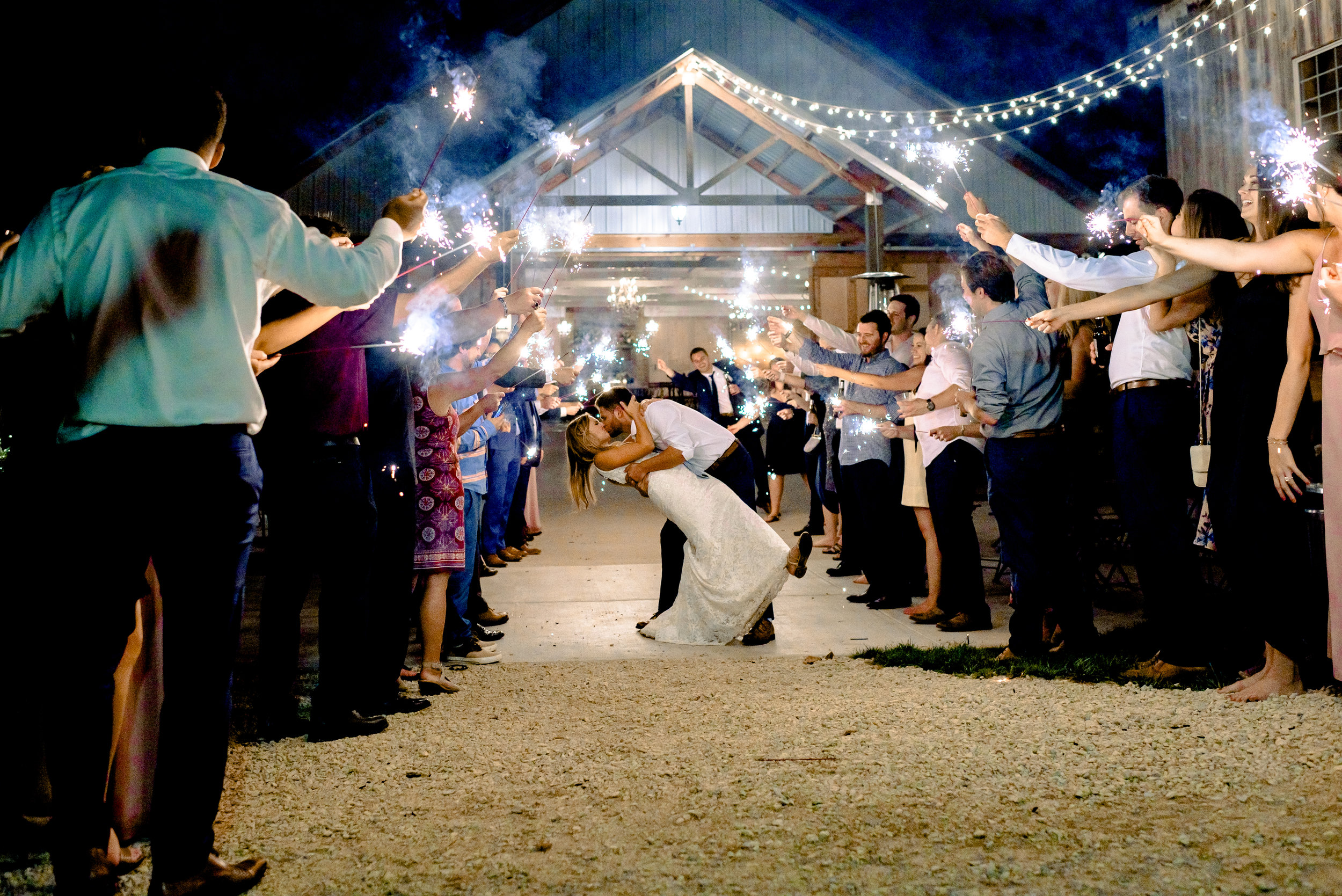 Sparkler Exit at Legacy Hill Farm Wedding in Welch MN - Twin Cities Wedding Photographer