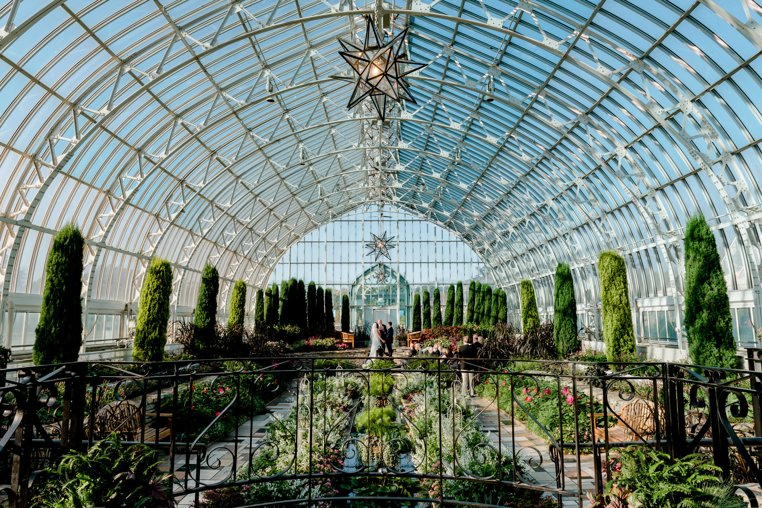 Morning Wedding Ceremony in Sunken Gardens at Como Conservatory in St. Paul MN - MN Best Elopement Photographer