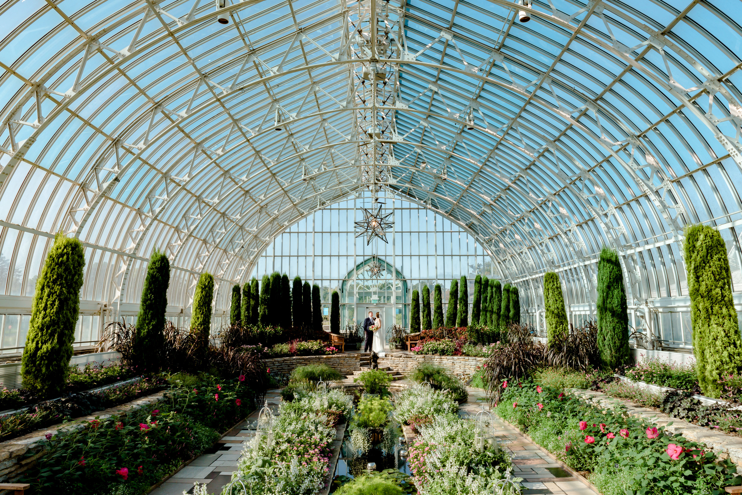 Best Wedding Photographer St. Paul - Como Conservatory Elopement Wedding - Bride and Groom in Sunken Garden after Wedding Ceremony