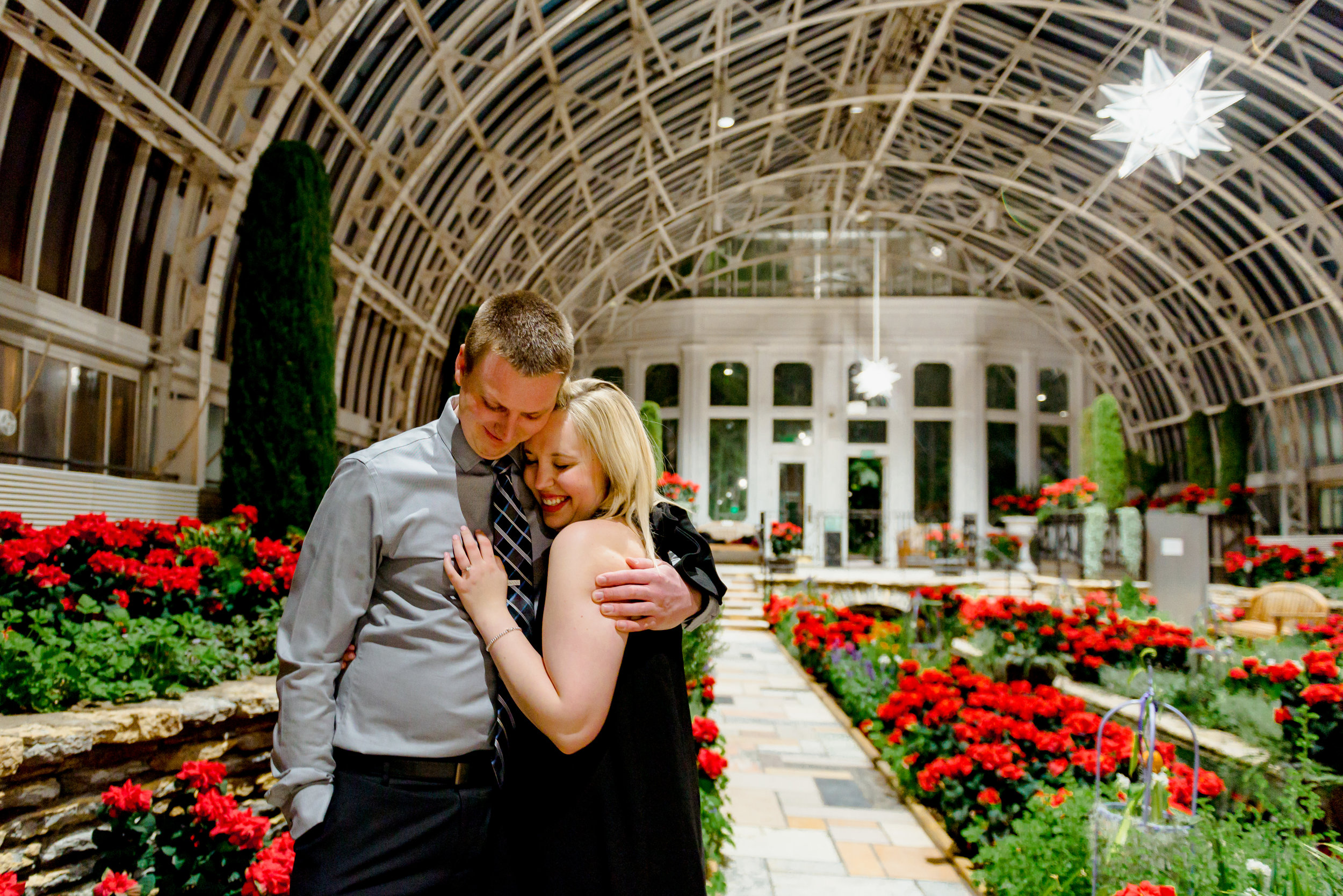 Como Conservatory Surprise Marriage Proposal Engagement Photos Holiday Poinsettia Display - St. Paul Engagement Photographer
