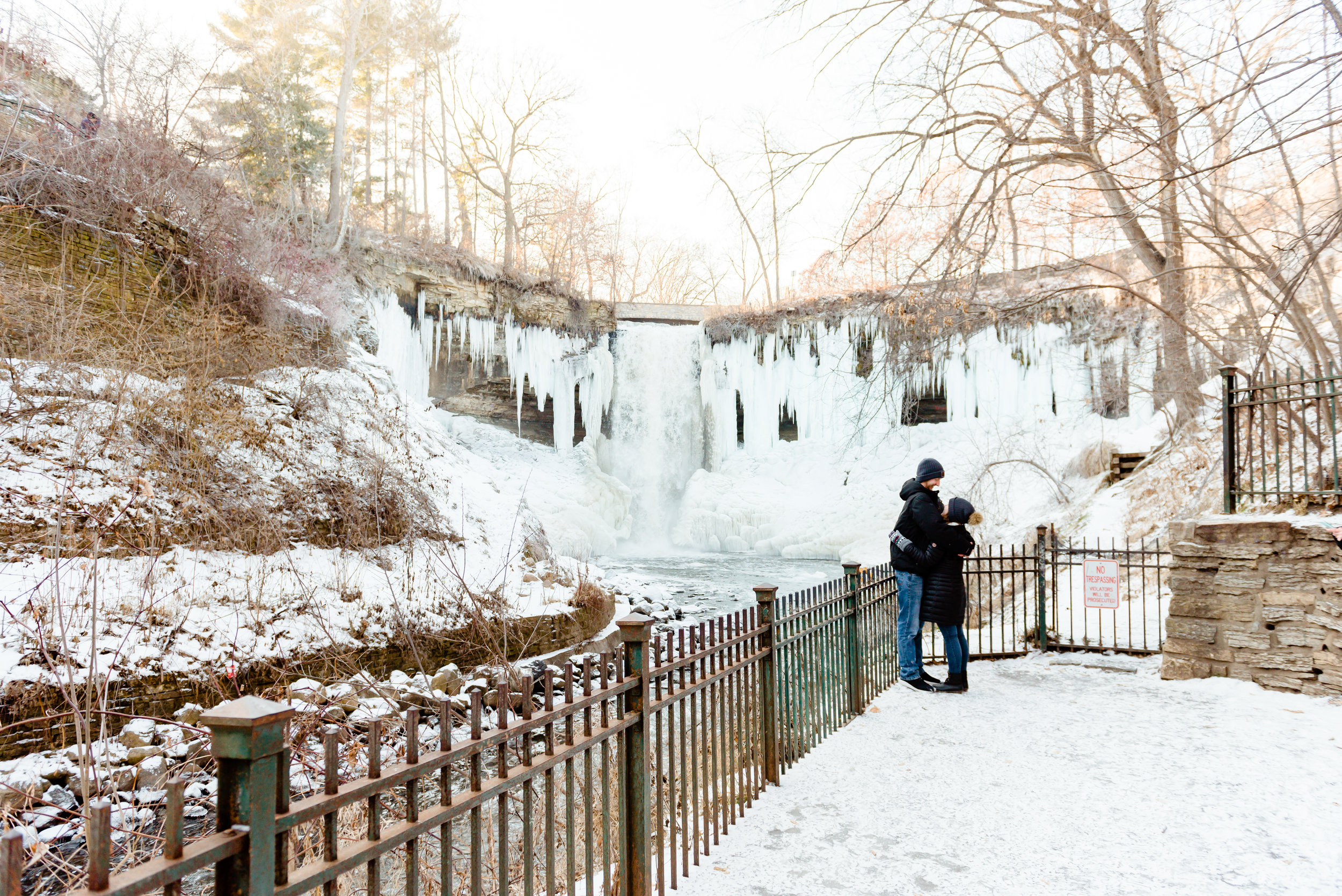 Engagement Photos at Minnehaha Falls with Frozen Waterfall - Minneapolis Surprise Proposal Engagement Photographer