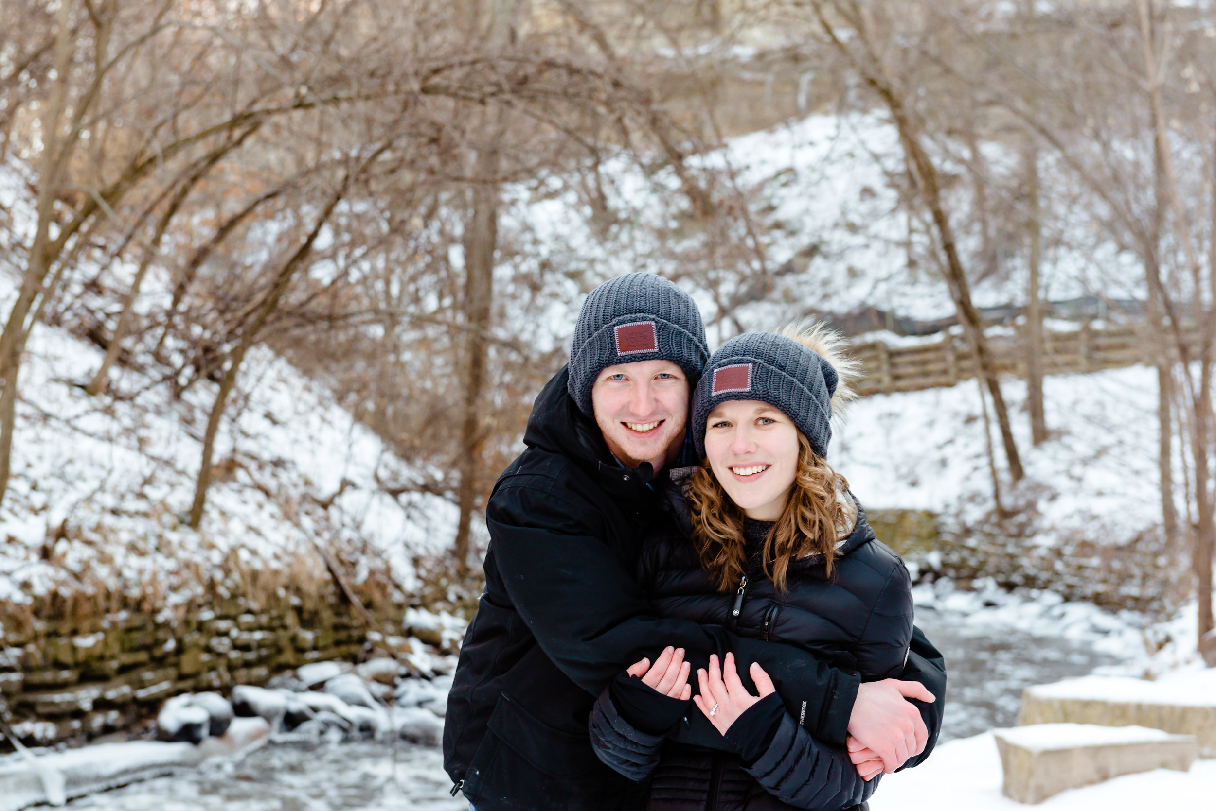 Minneapolis MN Engagement Photo Locations - Minnehaha Falls in Winter with Snow