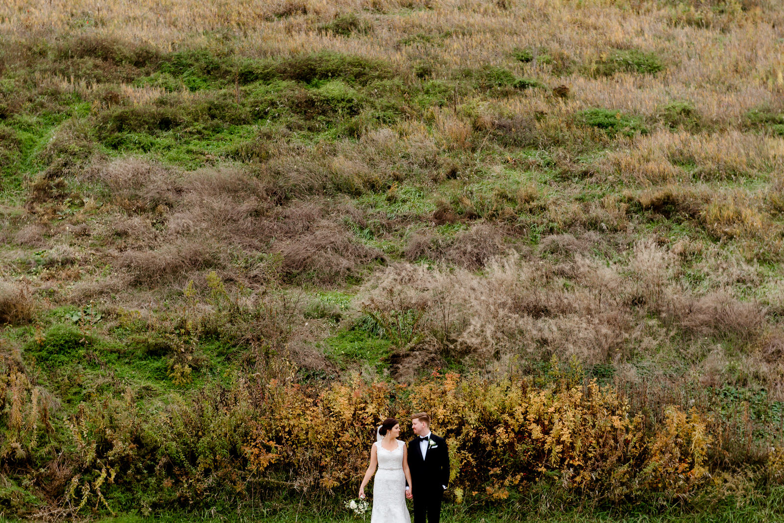 Minneapolis Wedding Photographer - Creative Bride and Groom Portrait at Mill Ruins Park