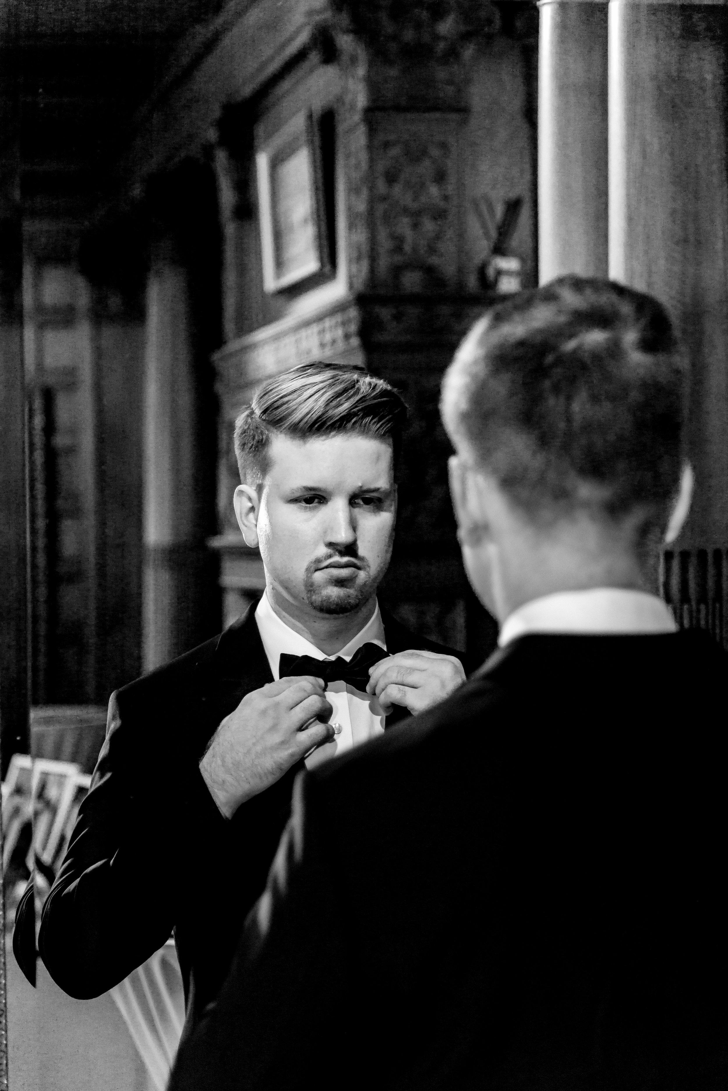 Van Dusen Mansion Black Tie Wedding - Groom Getting Ready - Minneapolis Luxury Wedding Photographer