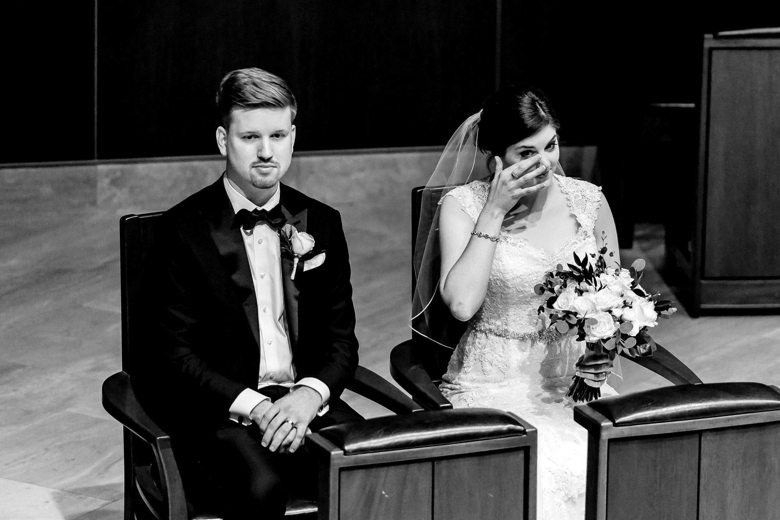 Bride Crying at Ceremony - Classic Catholic Wedding in Minneapolis - Twin Cities Best Wedding Photographer