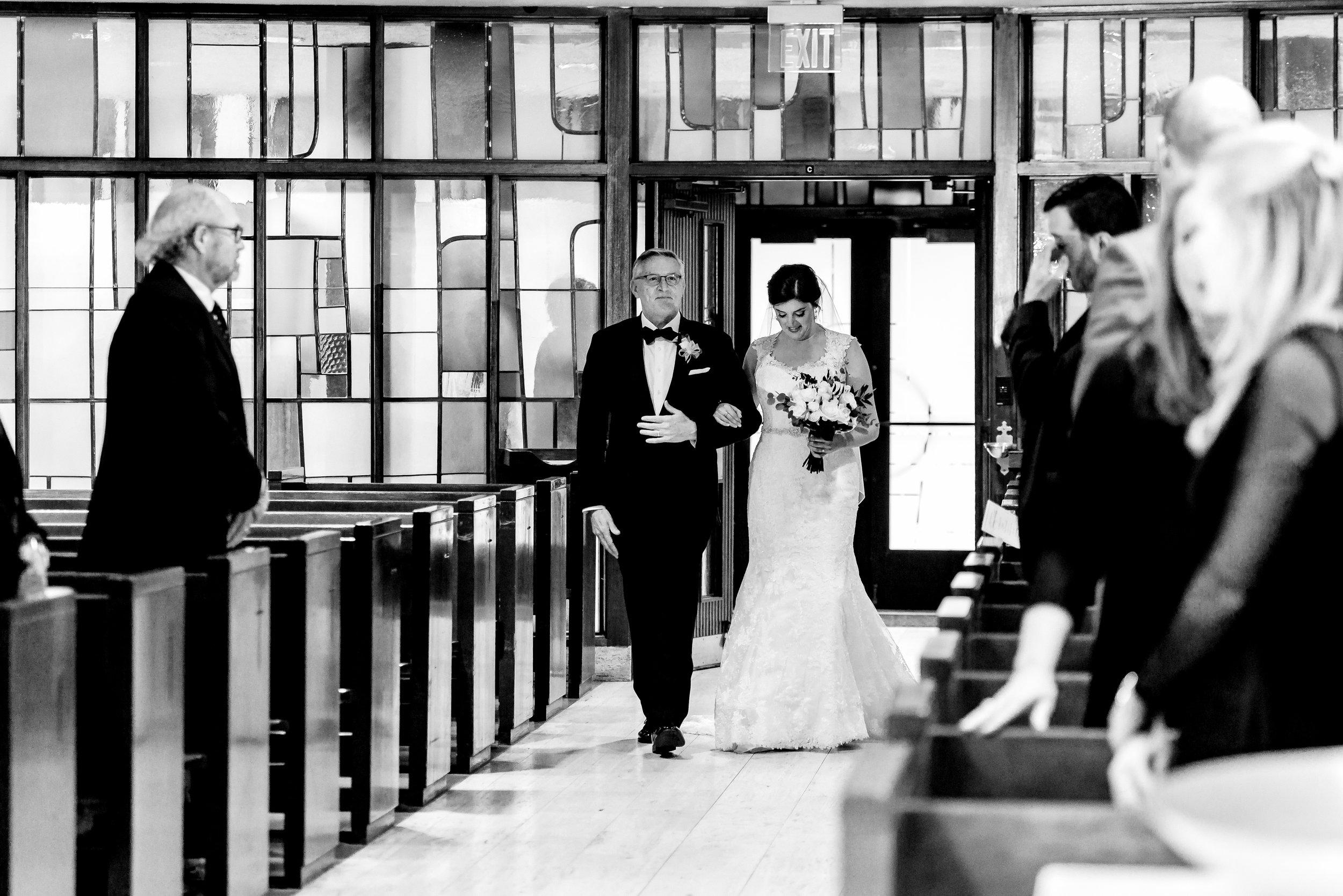 Classic Bridal Entrance at Saint Olaf Catholic Church - Classic Black Tie Wedding in Minneapolis - Best Wedding Photographers MN