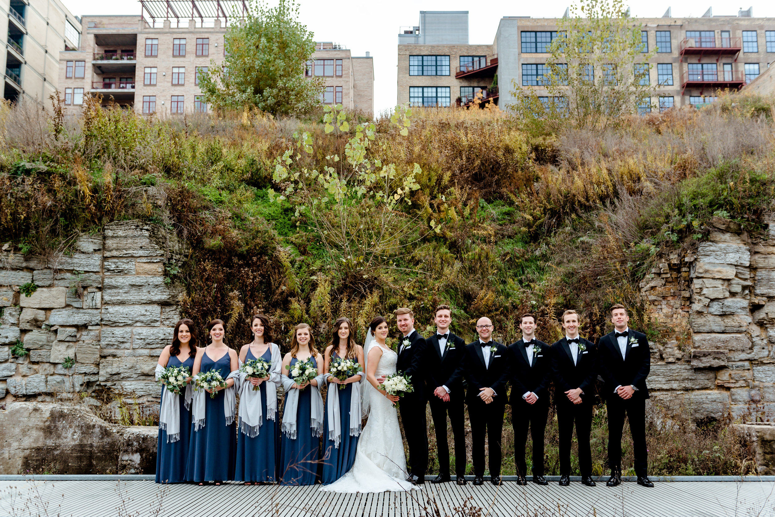 Fall Wedding Party Photos at Mill Ruins Park - Minneapolis Black Tie Wedding - Twin Cities Best Wedding Photographers