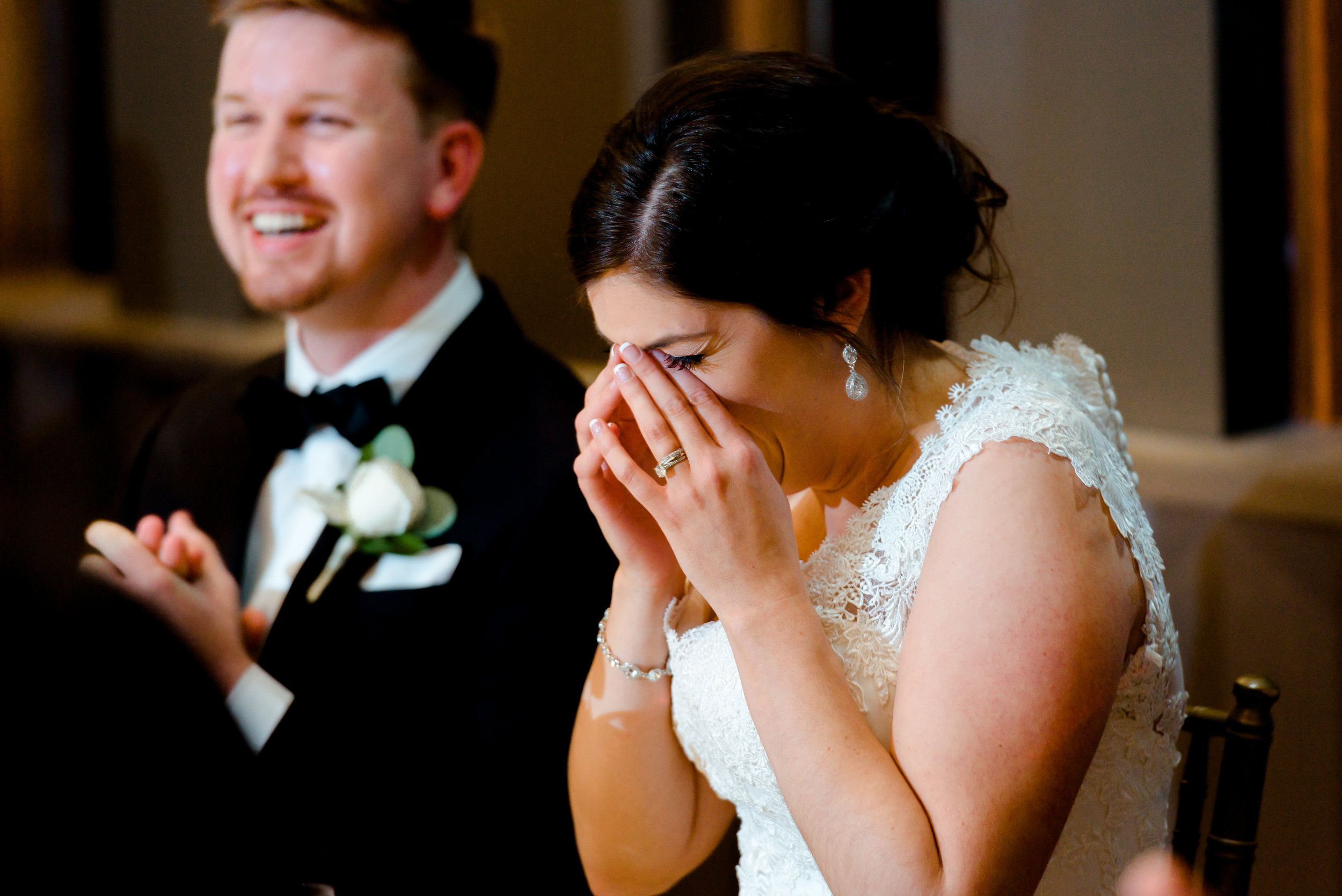 Bride Laughing at Van Dusen Mansion Wedding - Minneapolis Best Wedding Photographer