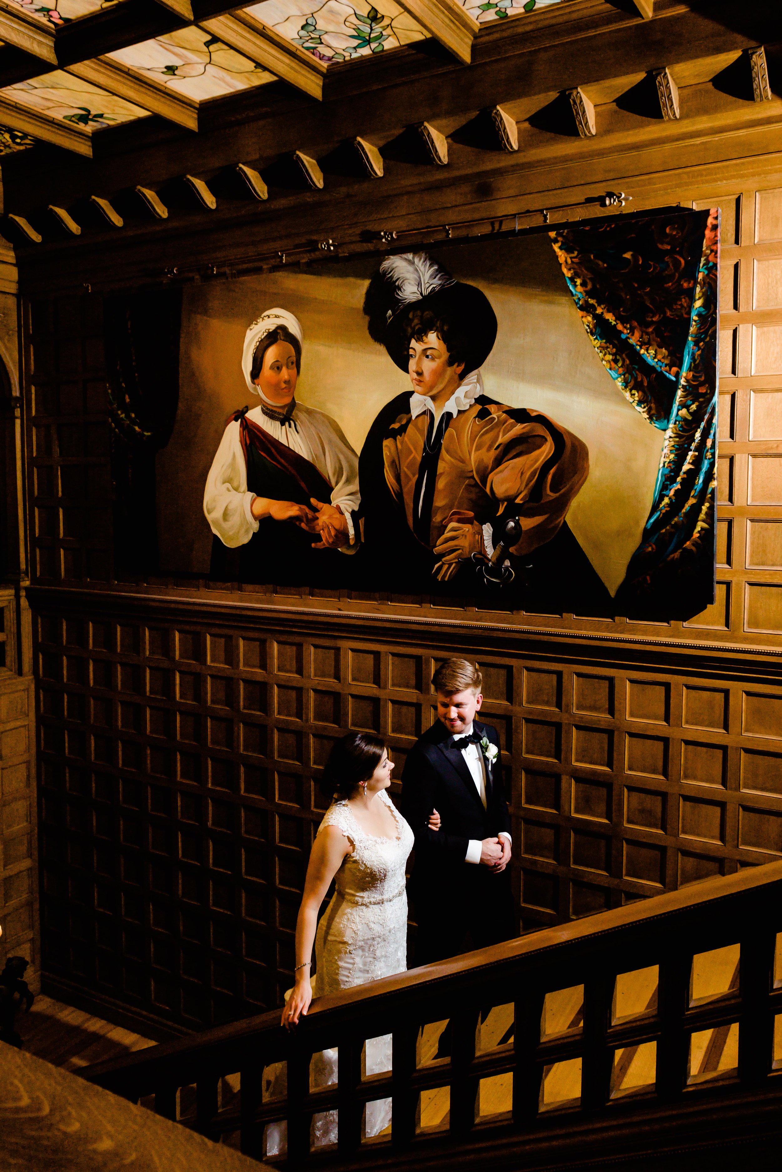 Van Dusen Wedding Photos - Historic Mansion Wedding - Bride and Groom on Staircase - Creative Wedding Photographer in Minneapolis MN