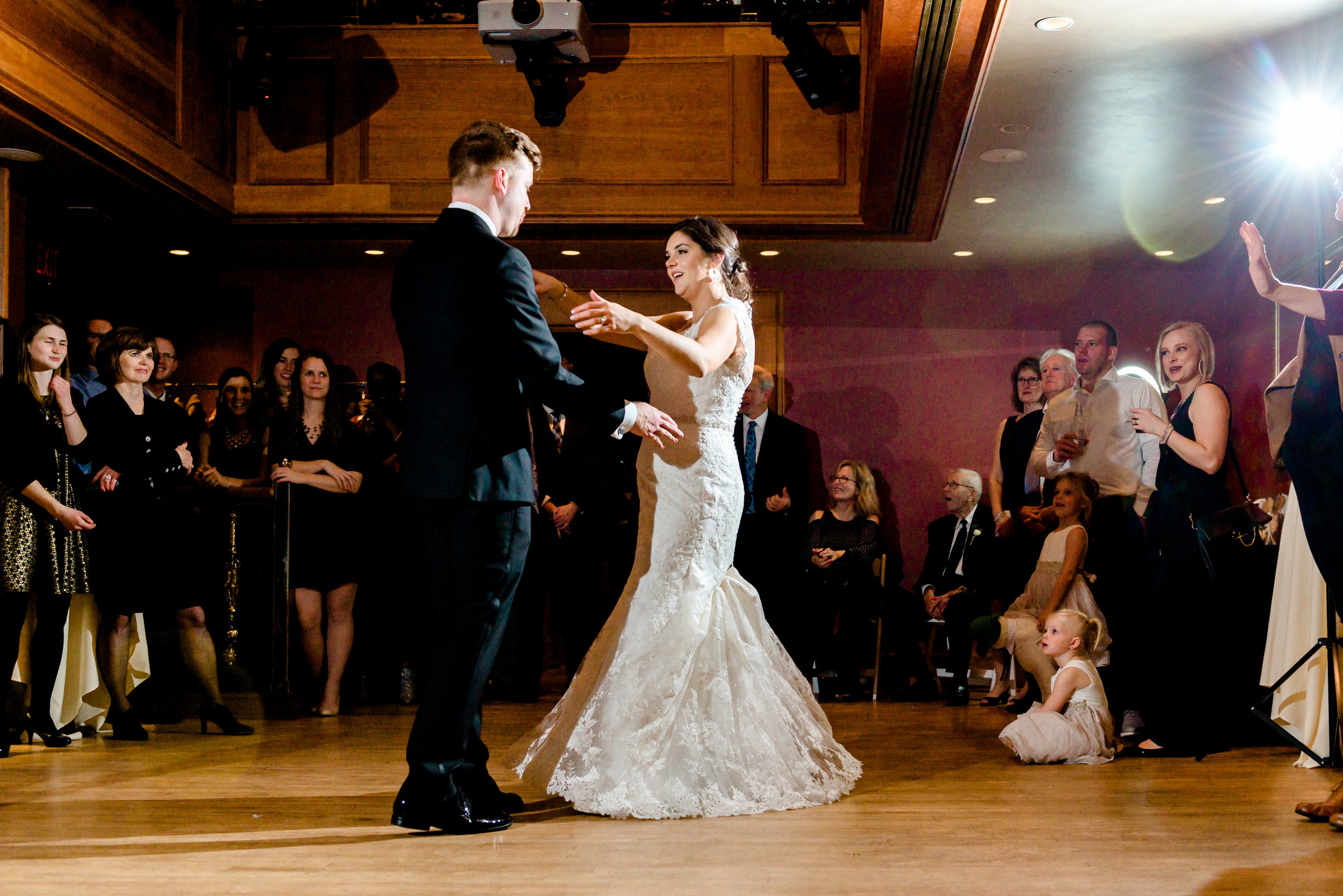 Bride and Groom First Dance in Carriage House at Van Dusen Mansion Wedding - MN Wedding Photographer
