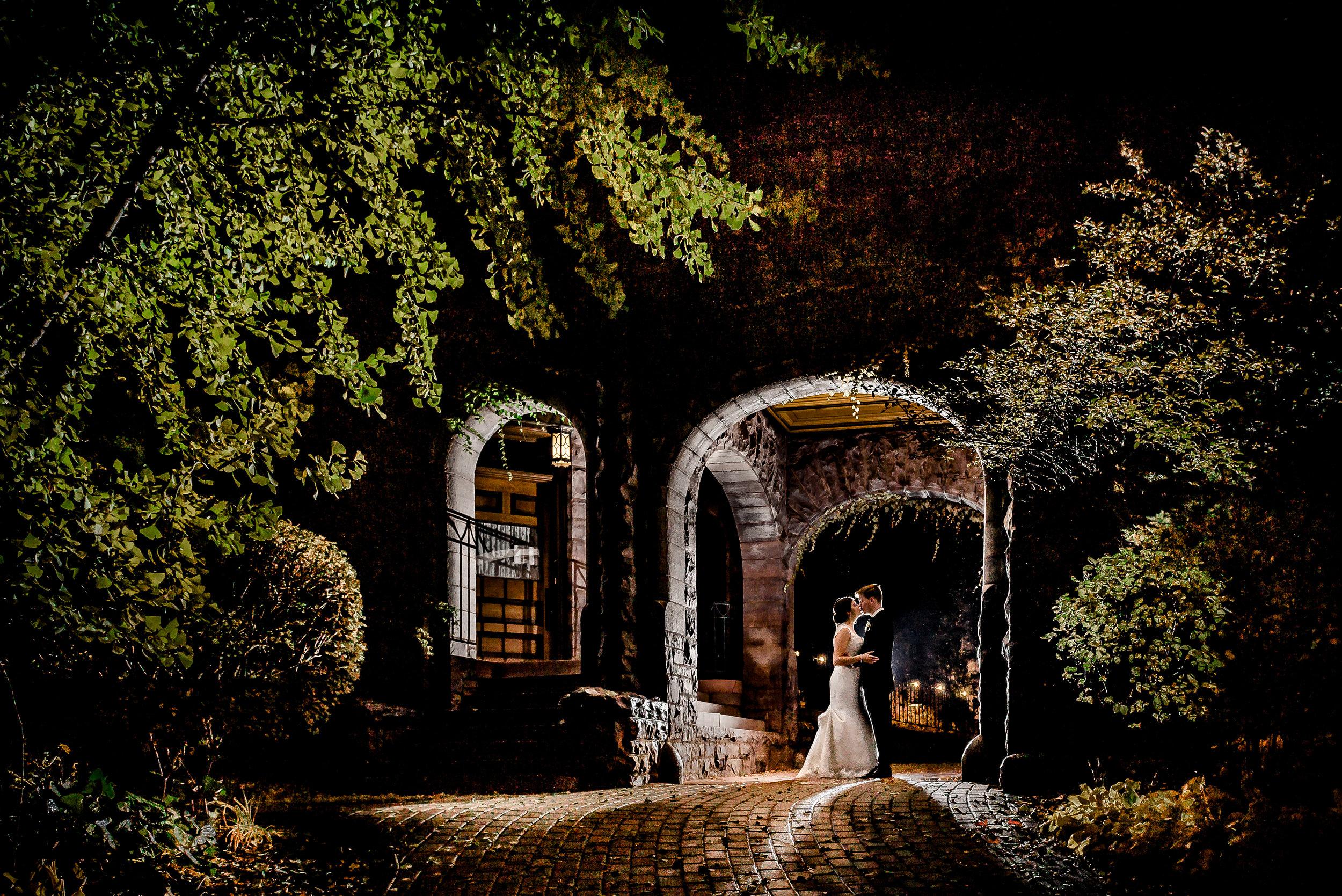 Van Dusen Mansion Luxury Wedding - Romantic Night Portrait with Bride and Groom - Minneapolis Wedding Photographer