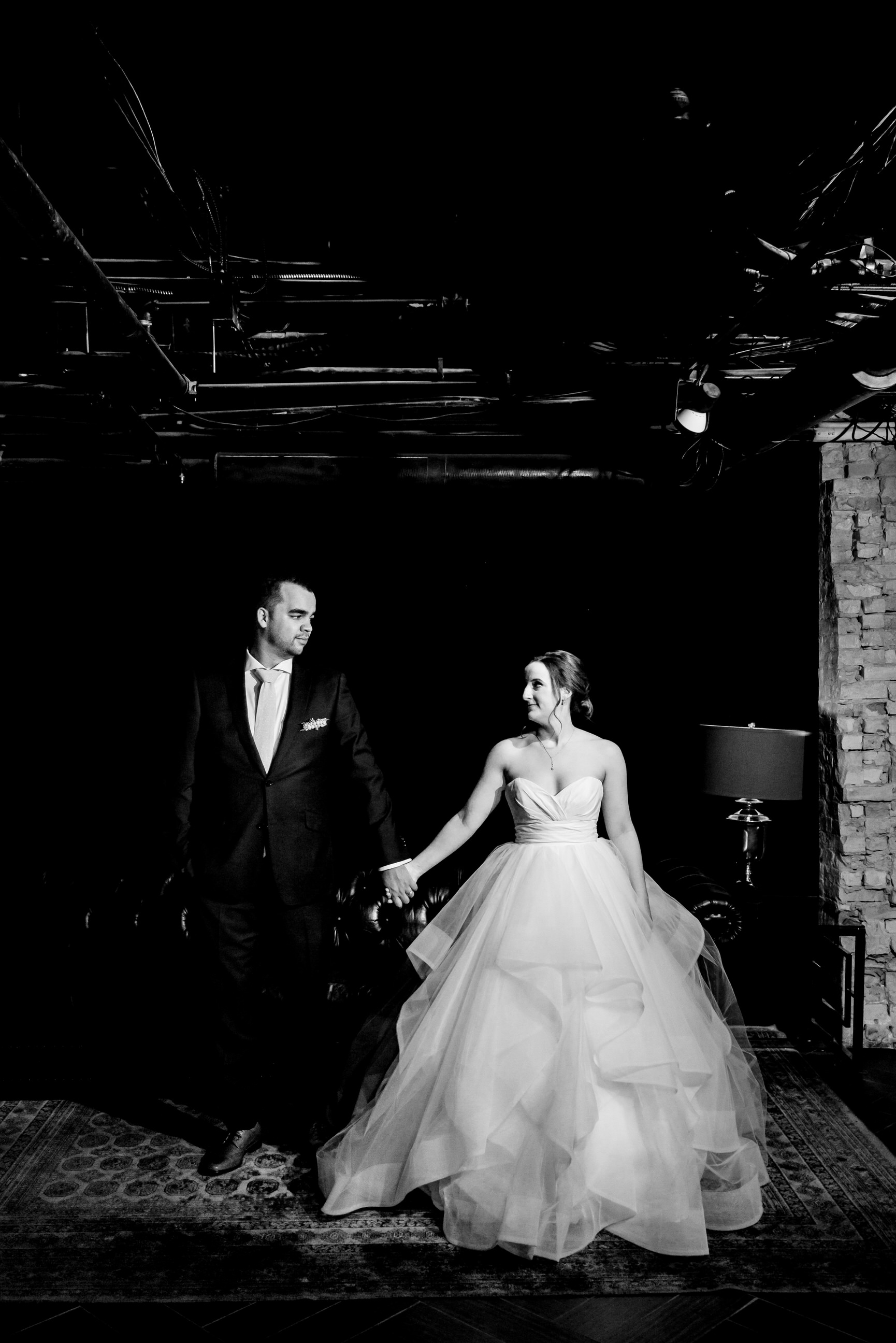 Megan and Alec - Lumber Exchange Wedding Sawyer Dylan Room - Highlights BW-111.jpg