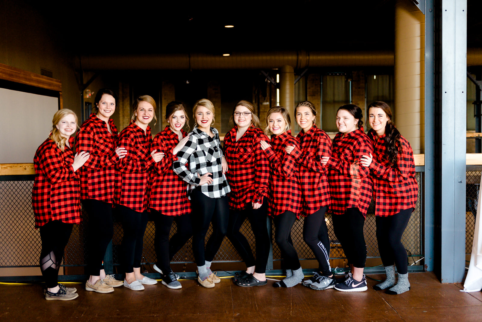 Buffalo Flannel on Bridesmaids - Clyde Iron Works Wedding - Duluth MN Wedding Photographer