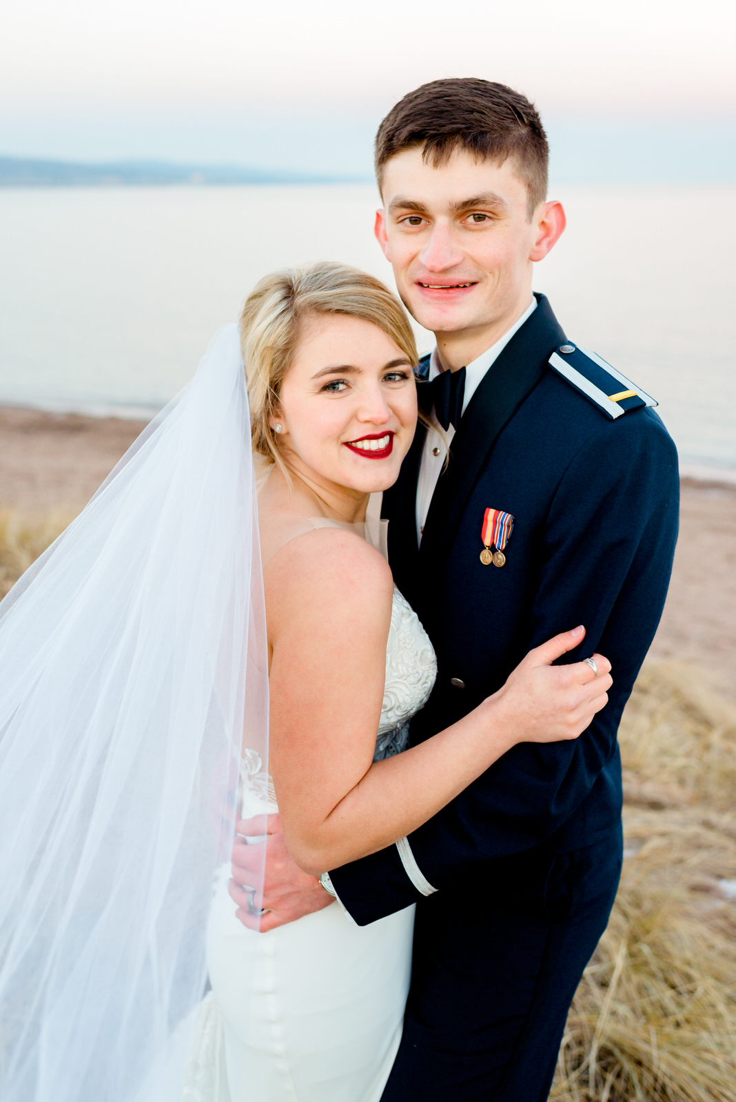 Duluth Shore Wedding Couple Photos at Sunset - Duluth MN Wedding Photographer