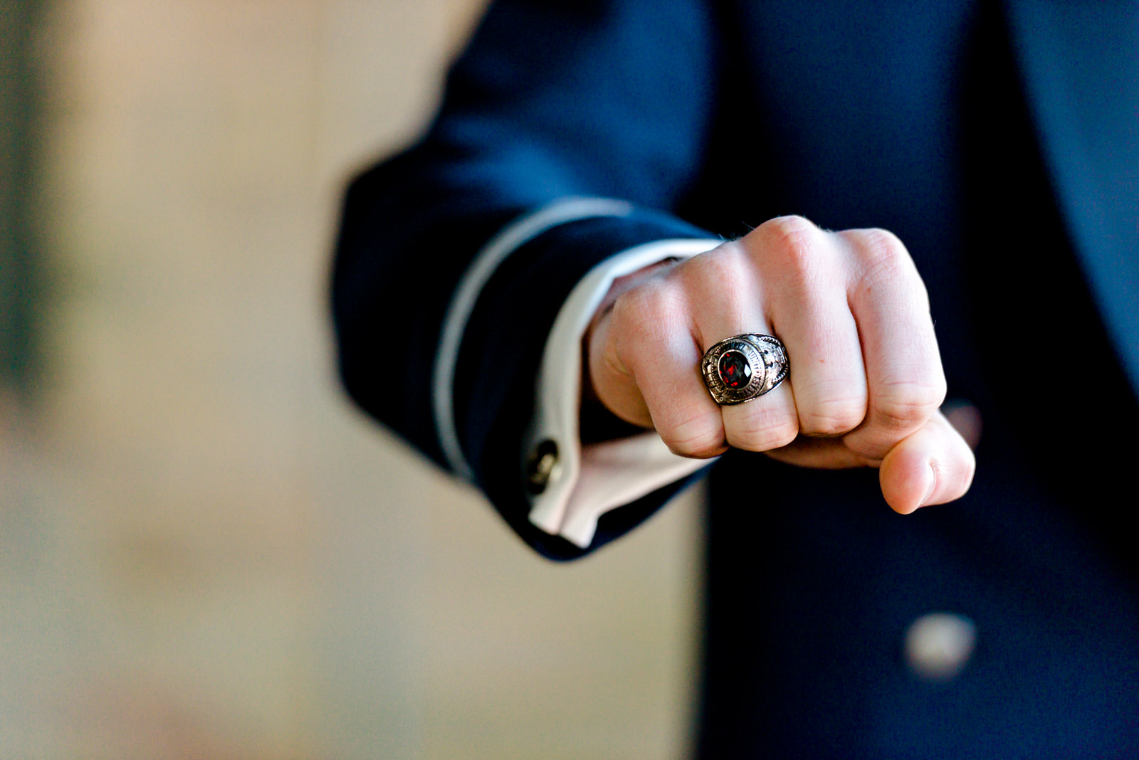 Duluth MN Military Wedding - Air Force Ring on Groom - Duluth MN Wedding Photographer