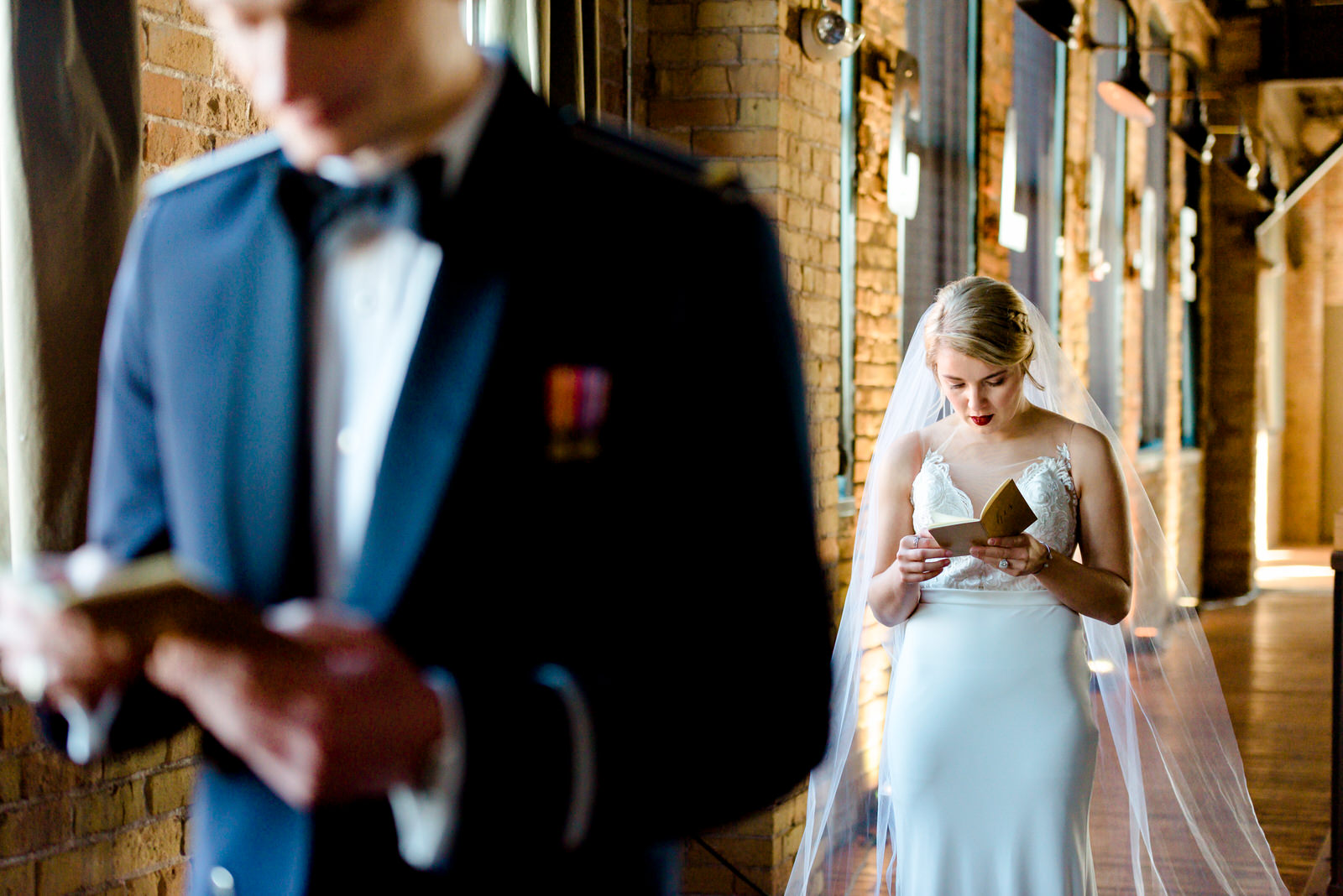 First Look Photos at Clyde Iron Works - Duluth MN Wedding Photographer