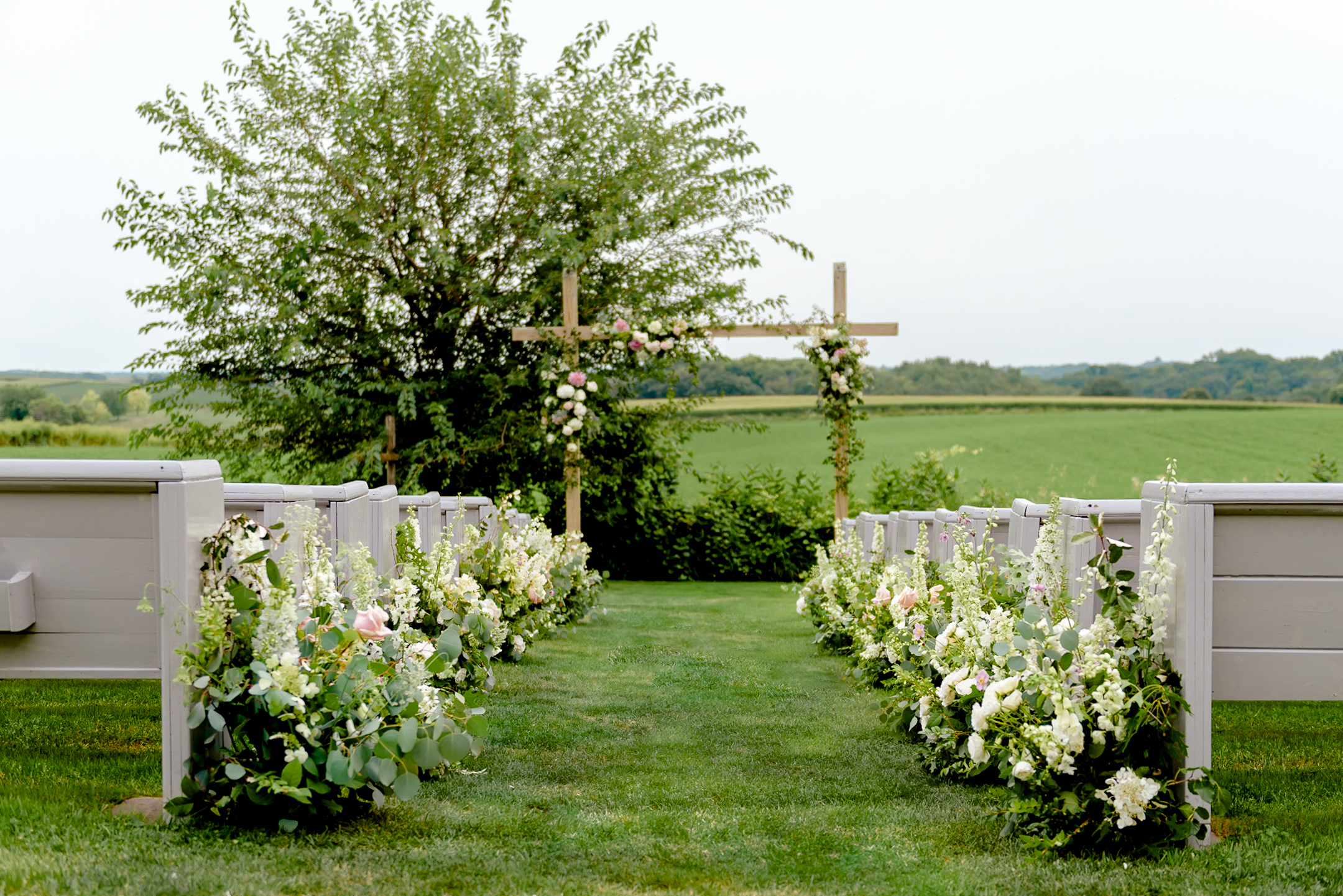 Legacy Hill Farm Photos of Ceremony Site with Flowers by Studio Fleurette - Romantic MN Wedding Photography