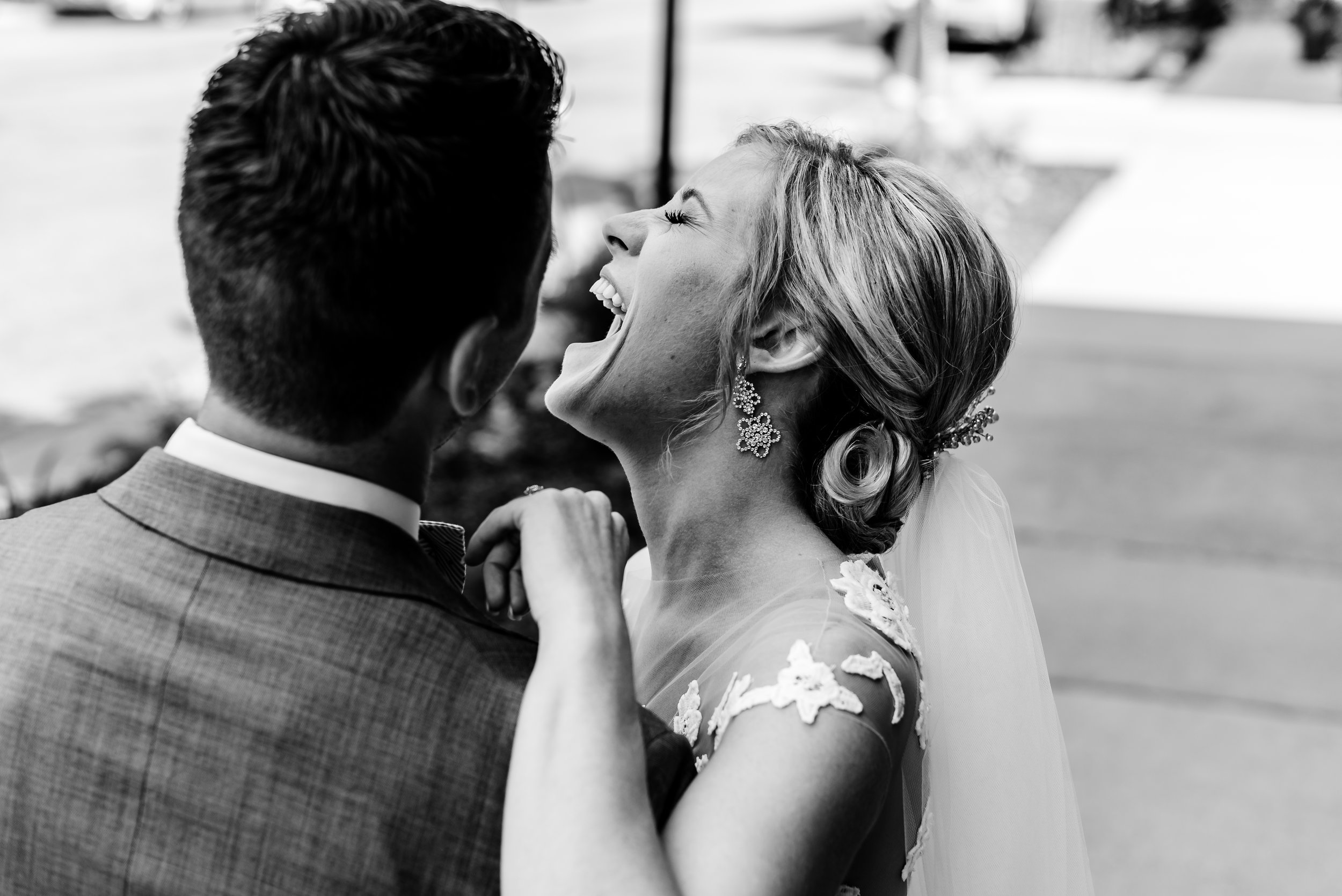 Muse Event Center Wedding - Bride and Groom Outside - Minneapolis North Look Wedding Photographer