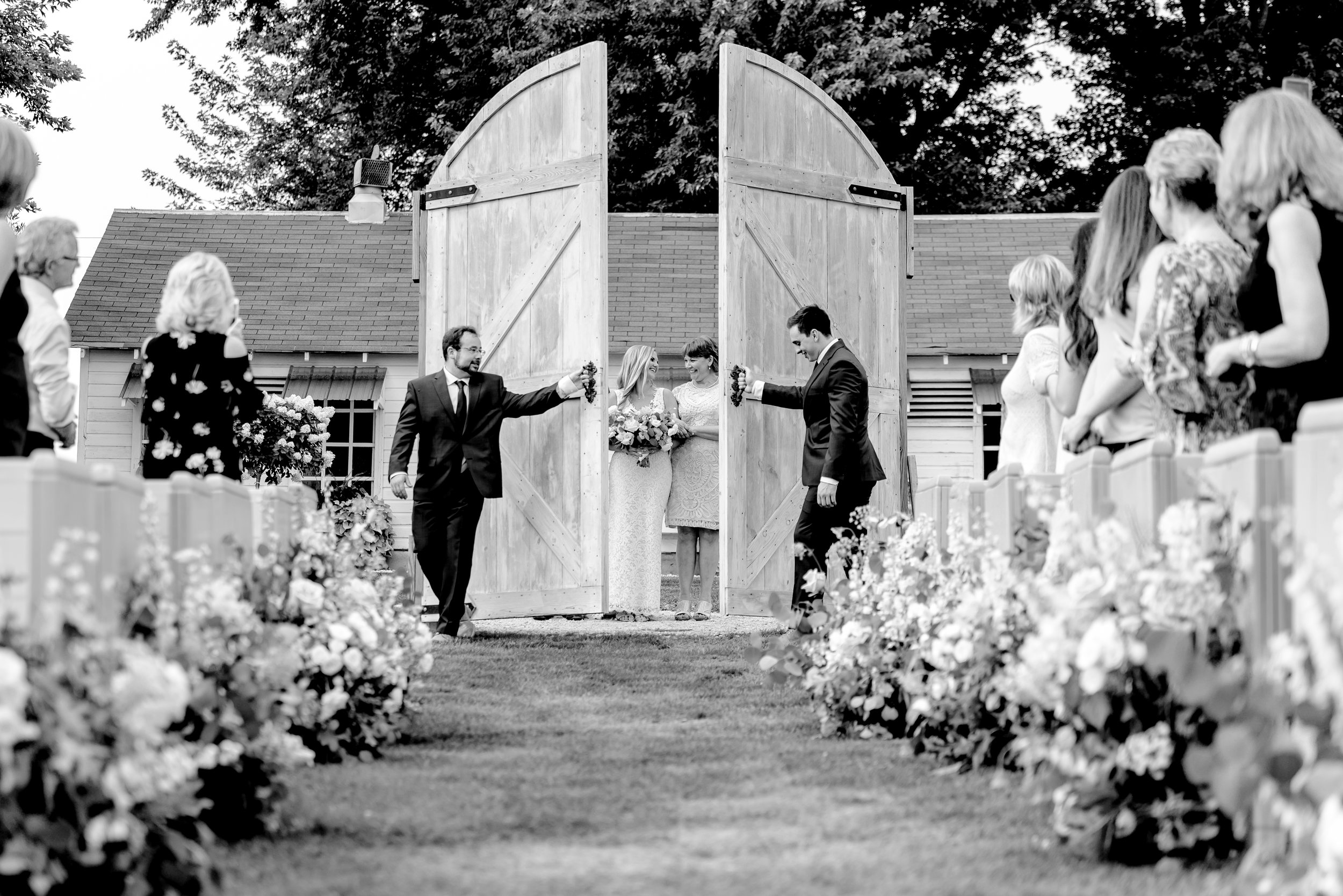 Legacy Hill Farm Wedding - Ceremony Doors - Best Wedding Photographers in MN