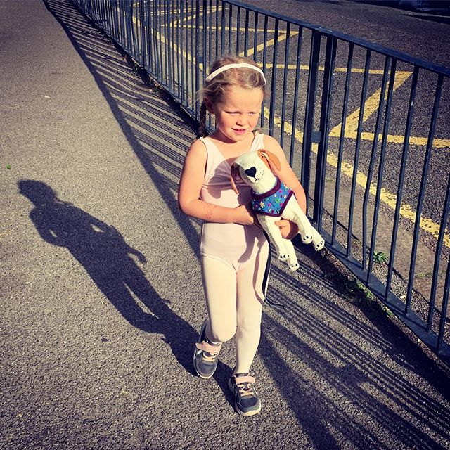This little monkey turned four today. Here she is heading off to ballet with her new dog, Bertie the beagle. 'I have to carry him, mama, he doesn't walk very fast.' 🐶