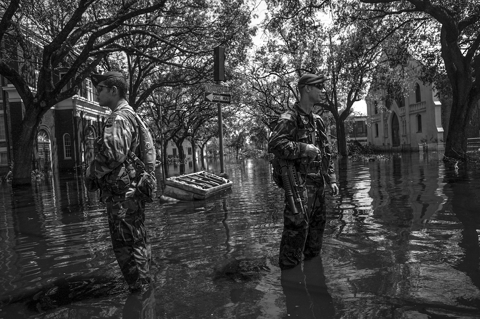 The National Guard were brought in for rescue operations and to maintain security.