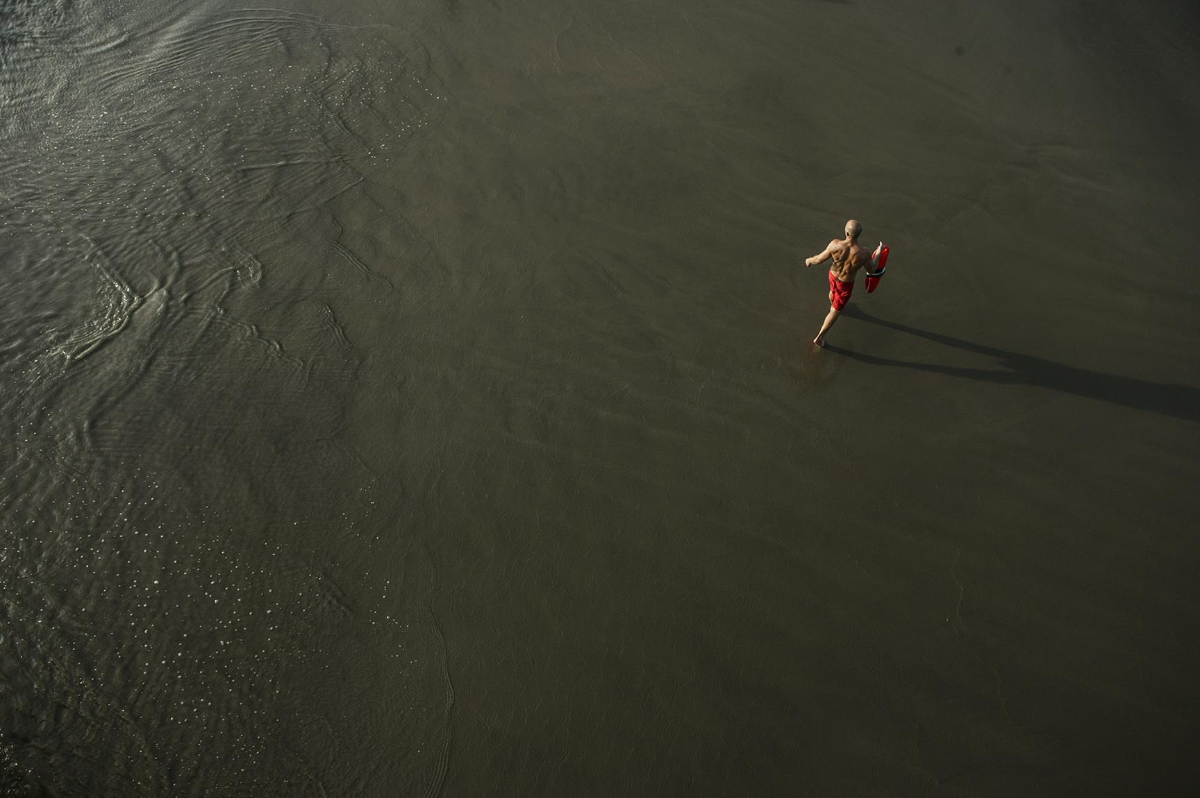 A lifeguard patrols the beaches of Santa Monica.