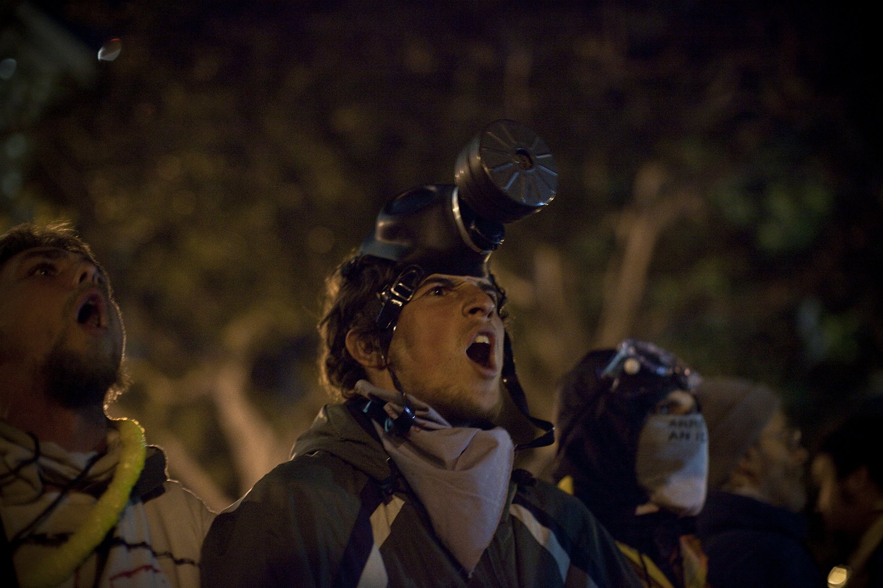 Occupy Los Angeles - As the deadline to disperse approached, protesters stood their ground on the City Hall lawn waiting for the inevitable arrests. More than 1,400 LA police officers cleared the area,arresting 200.