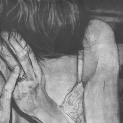 """Untitled (Shy) , 2006 Charcoal on paper 60"""" sq."""