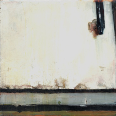 """Untitled (Penury) , 2007 Encaustic on panel 8.5"""" sq (16"""" sq. framed)   private collection"""