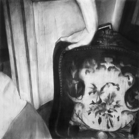 """Untitled (Push) , 2001 Charcoal on paper 60"""" sq."""