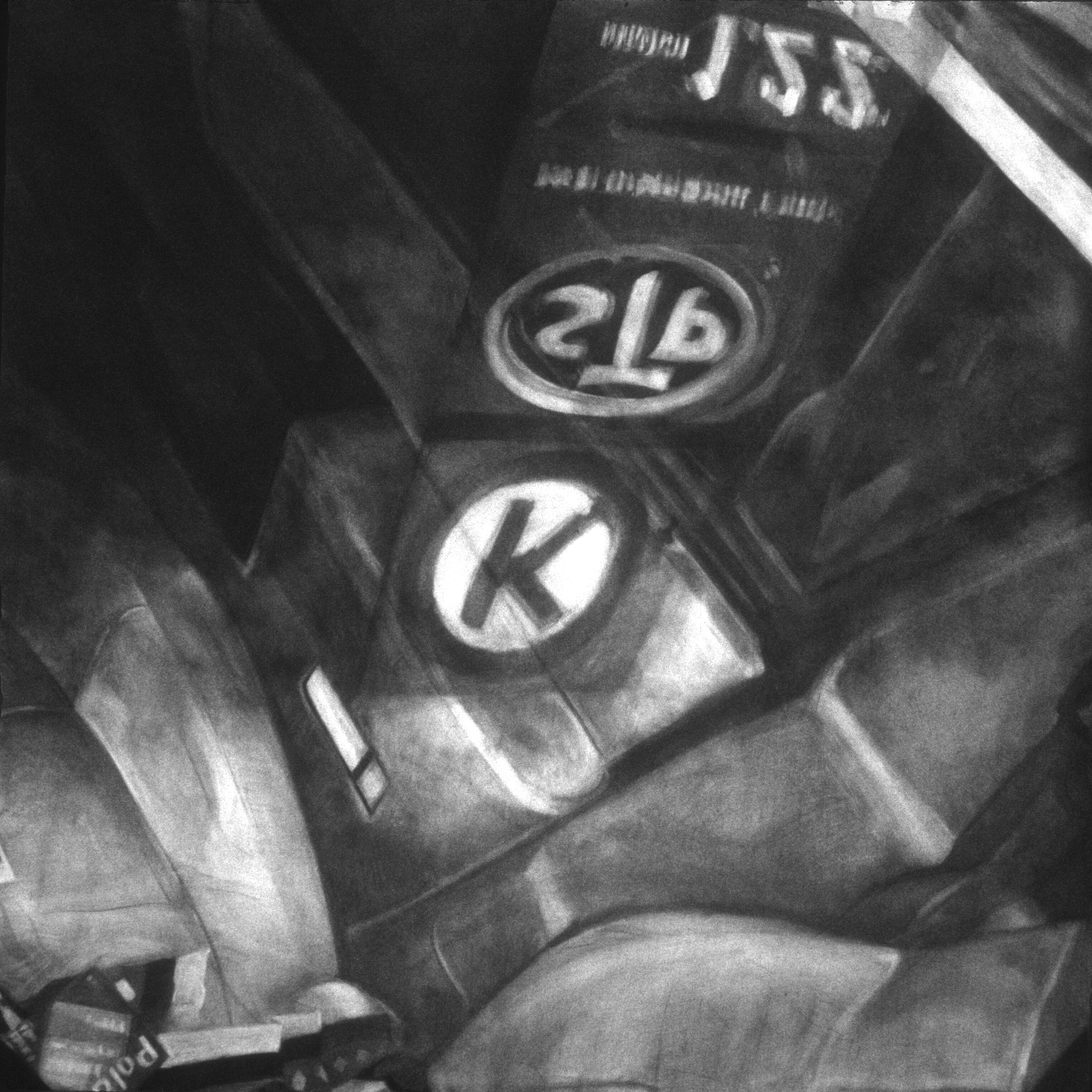 """America (On the Road Again) - Diptych; Right Panel , 1995 Charcoal on paper 72"""" sq.   private collection, Memphis, TN"""
