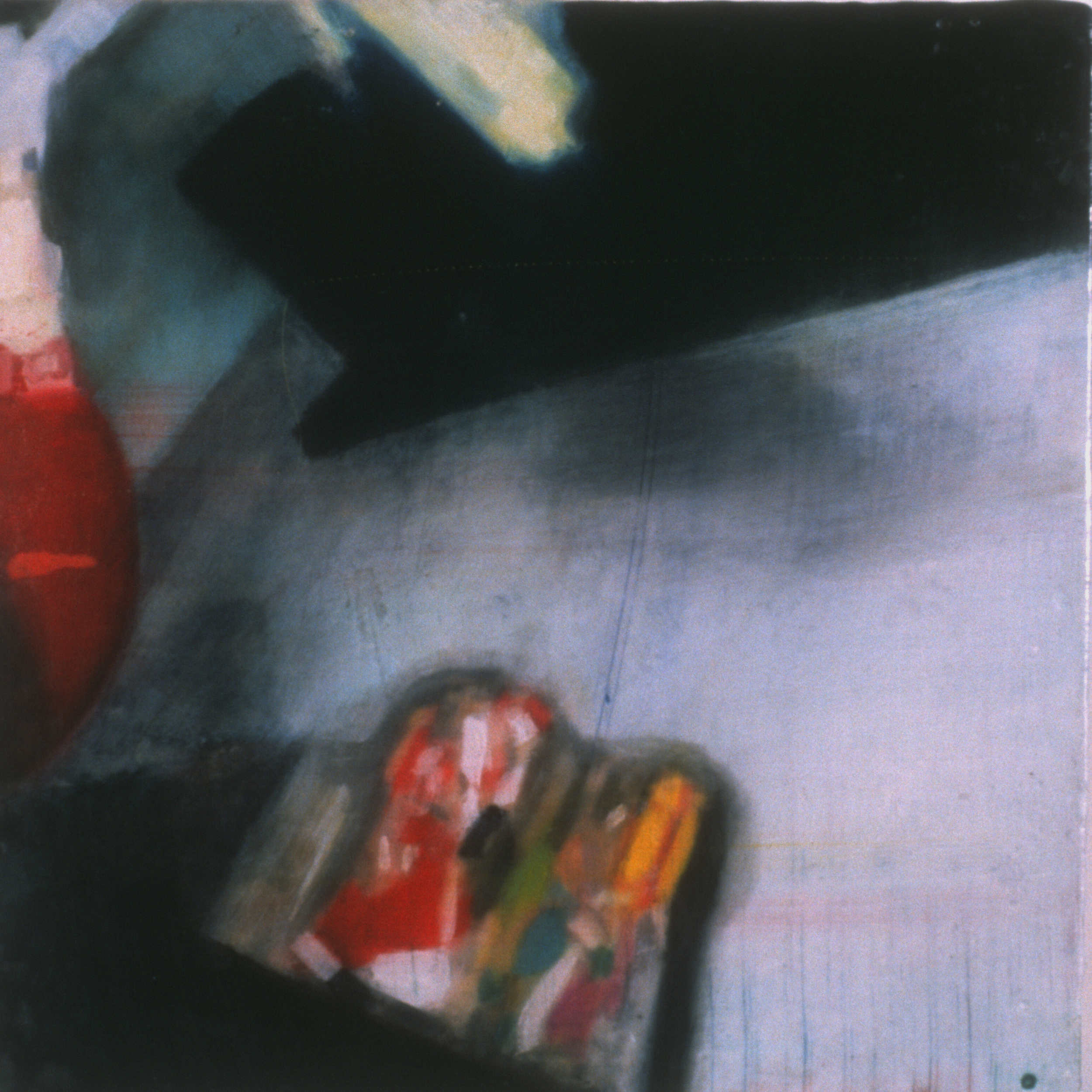 """Untitled (Christmas) ,2001 Encaustic on panel 8.5"""" sq.   private collection"""