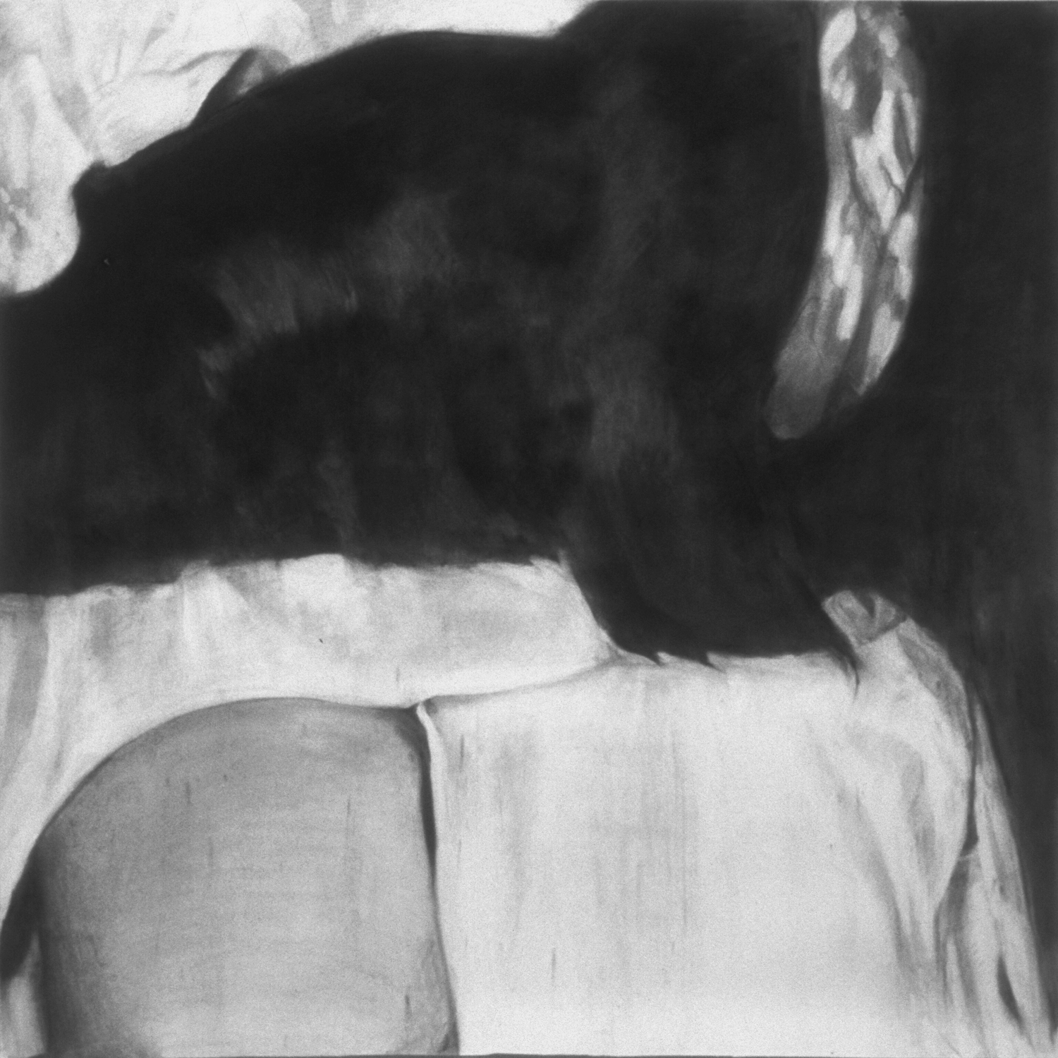 """Untitled (Lap) ,2000 Charcoal on paper 60"""" sq."""