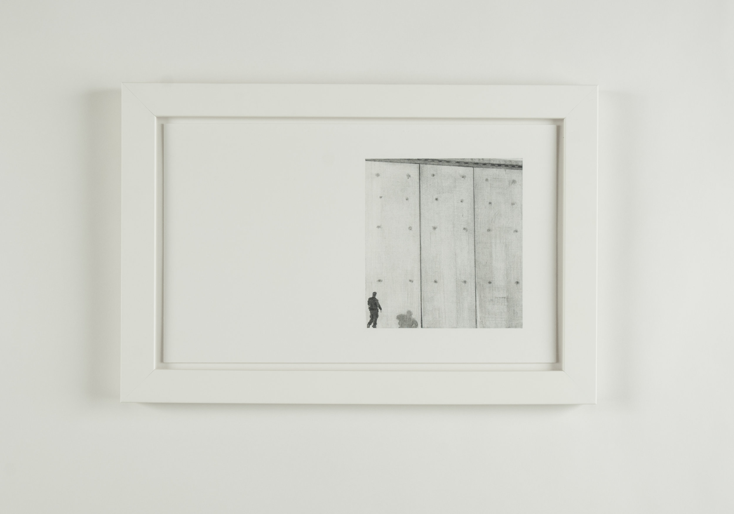 Untitled (Rumination on Borders, I),  2019  Detail 3 of 4 Graphite on Paper  43 x 28.5 cm (17 x 11.25 inches)  Source Image: Image of a prototype for the US-Mexico Border Wall photographed by Mario Tama, Getty Images.