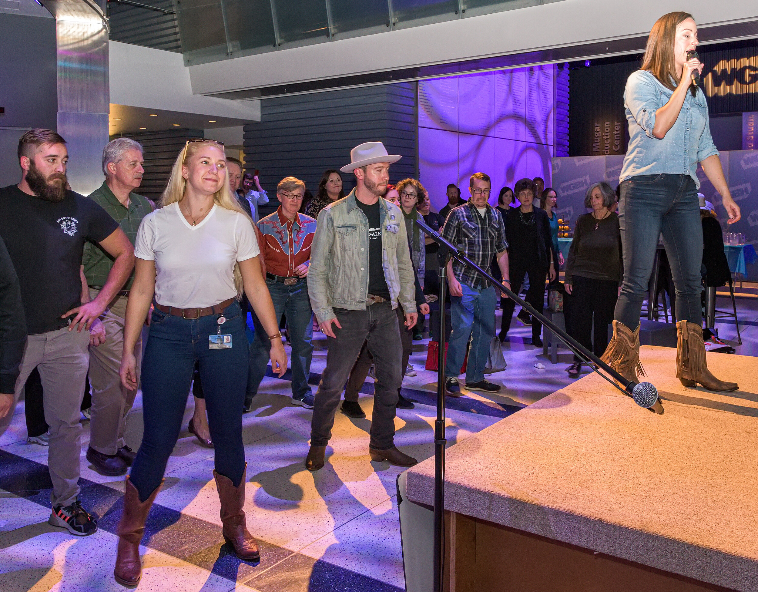 Grapevine to the Right teaching an original dance to the great crowd at WGBH's BostonTalks event!  Photo Credit: Sheldon Golder
